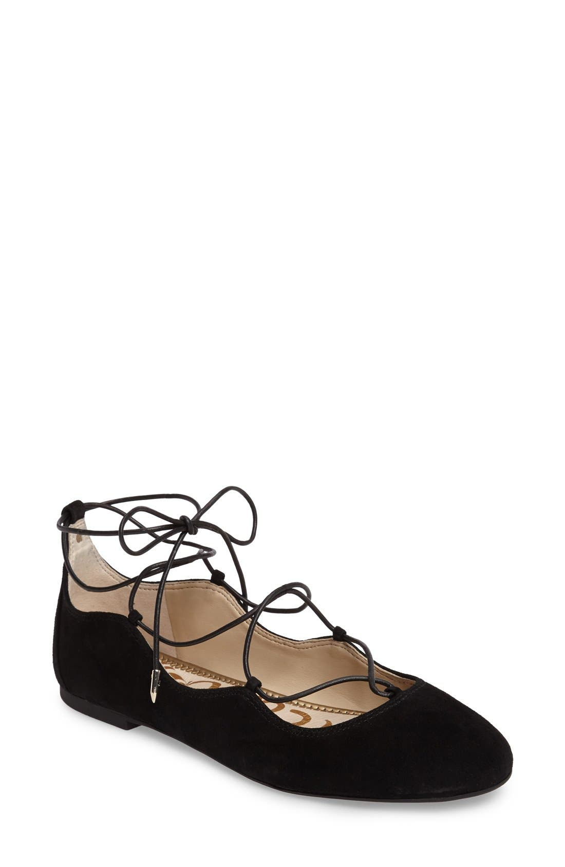 Flynt Ghillie Flat,                             Main thumbnail 1, color,                             Black Suede