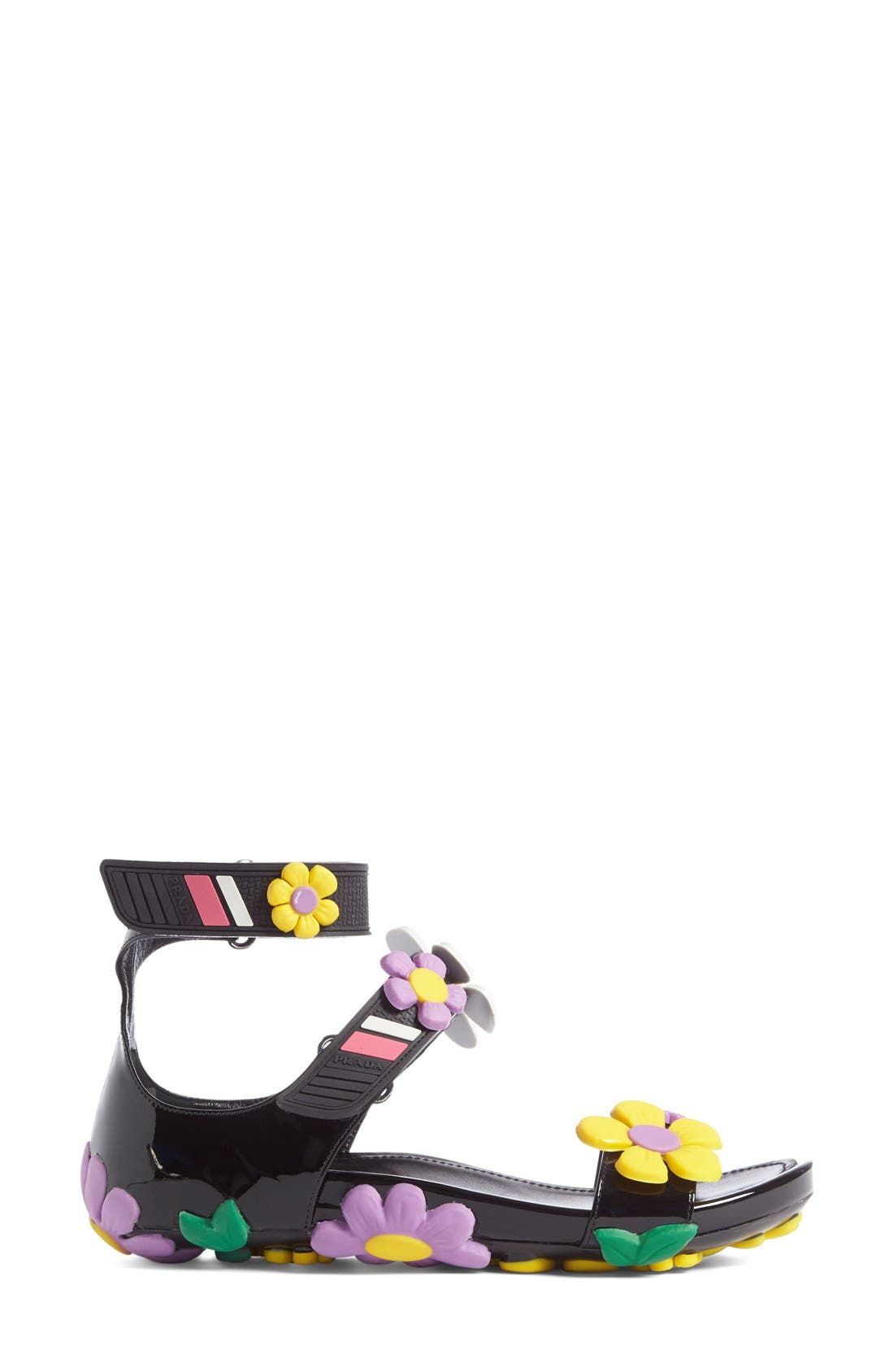 Alternate Image 4  - Prada Floral Triple Band Sandal (Women)