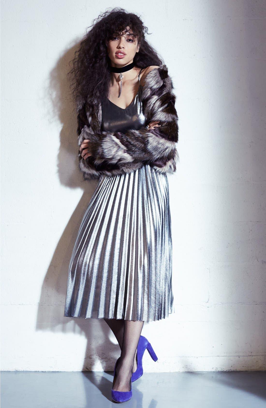 Alternate Image 2  - Love, Fire Pleated Foil Midi Dress