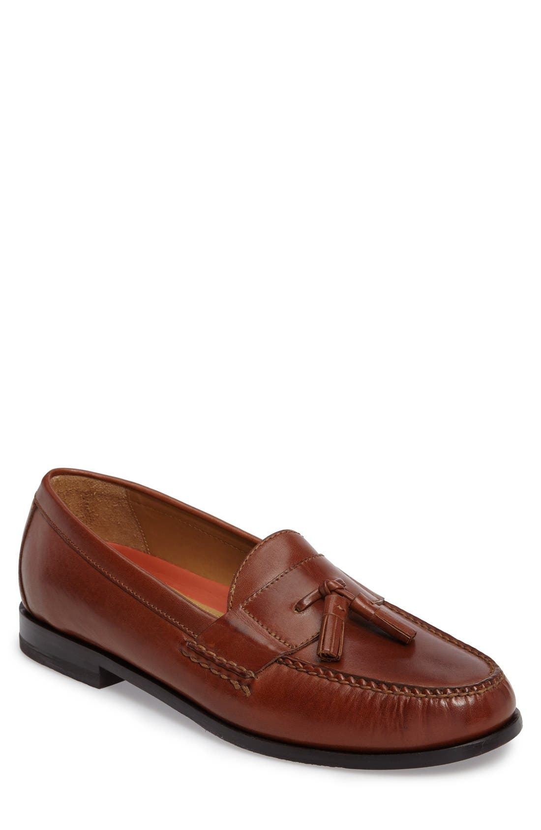 'Pinch Grand' Tassel Loafer,                             Main thumbnail 1, color,                             Papaya Leather