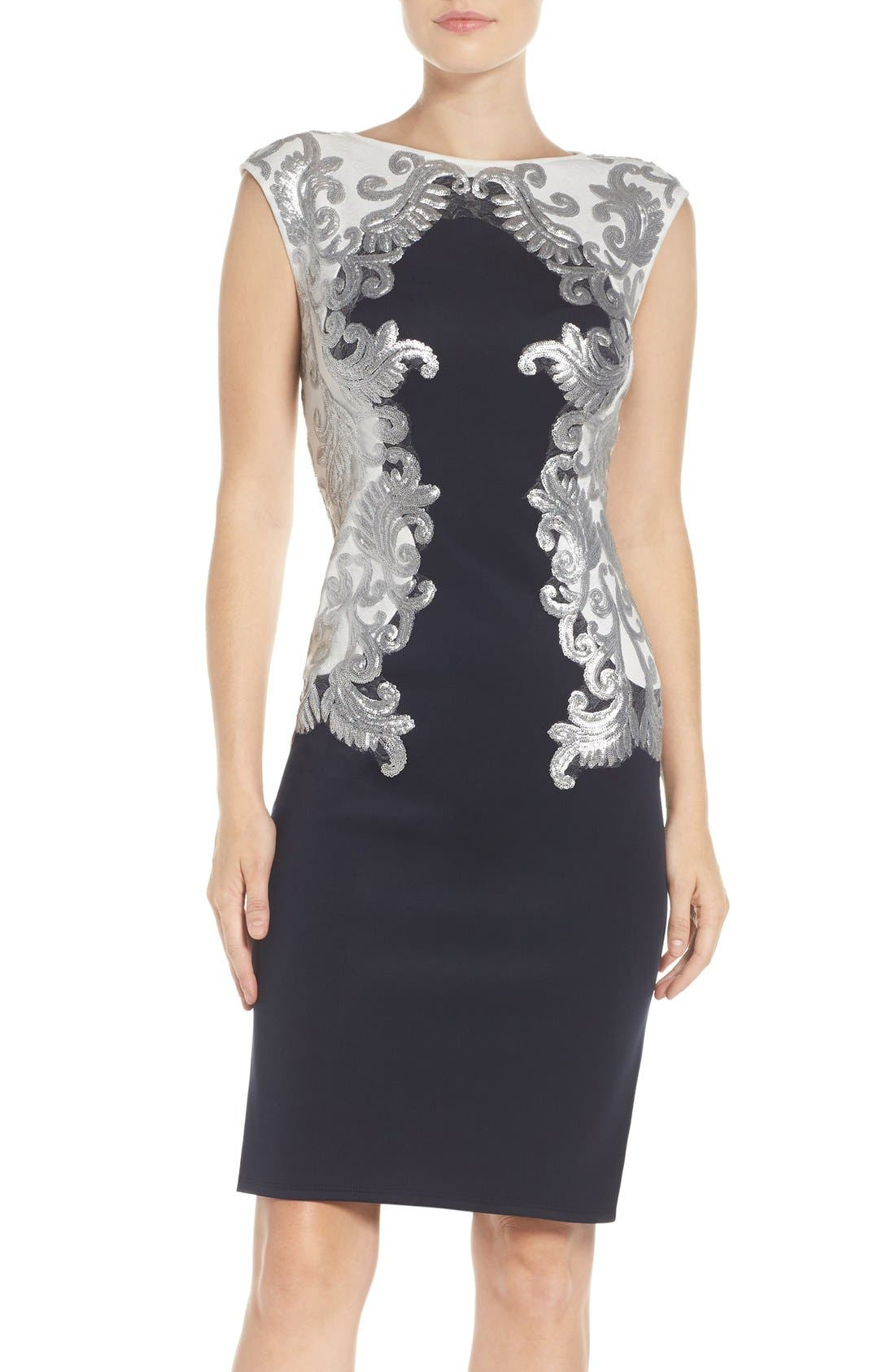 Alternate Image 1 Selected - Tadashi Shoji Sequin Neoprene Dress (Regular & Petite)
