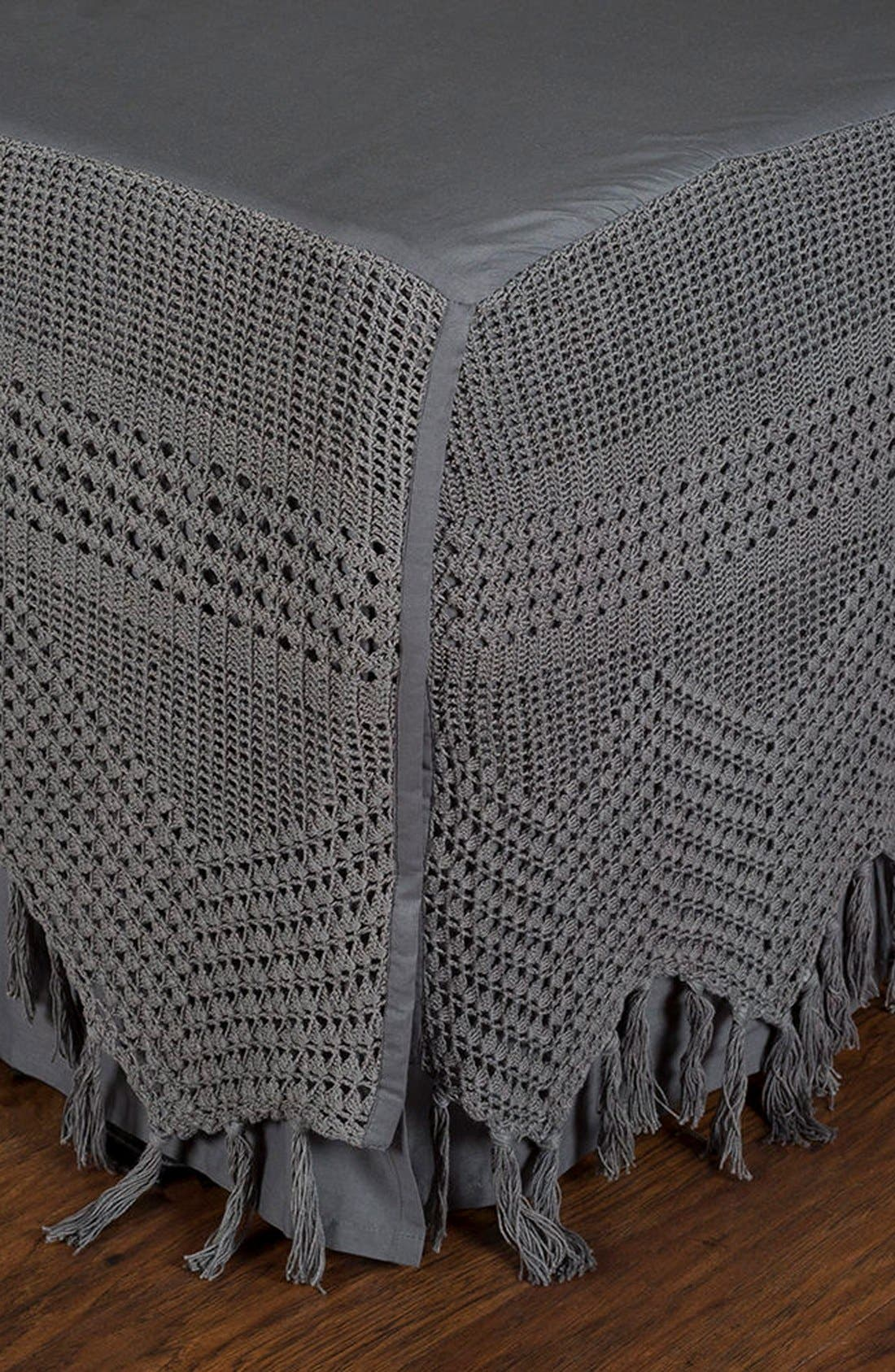 King Crochet Bed Skirt,                         Main,                         color, Midnight