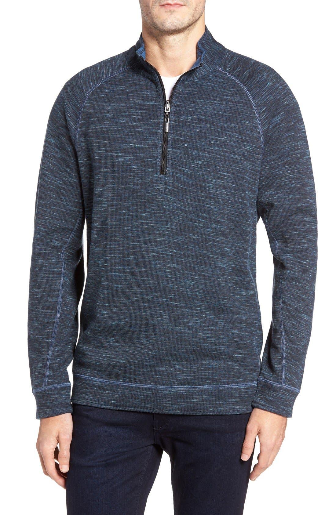 Slubtropics Reversible Half Zip Pullover,                         Main,                         color, Jet Black Heather