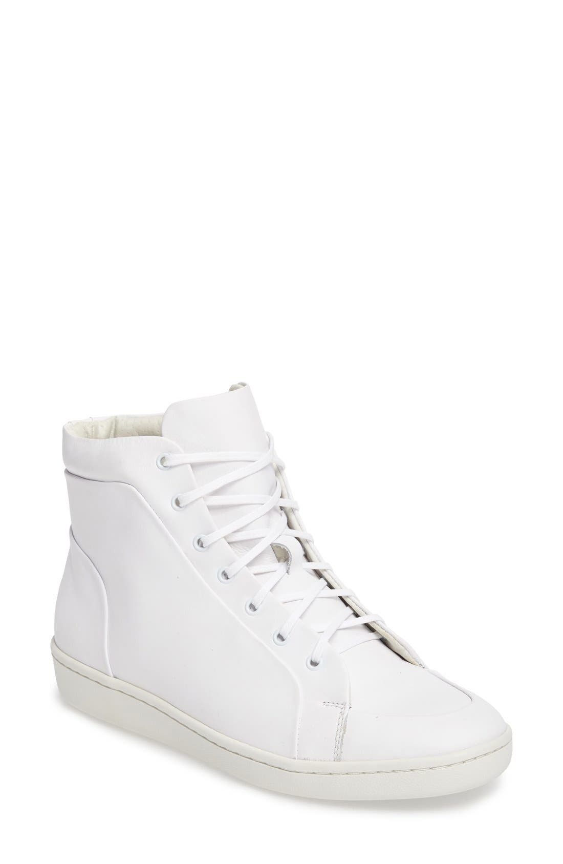 Molly High Top Sneaker,                         Main,                         color, White Leather