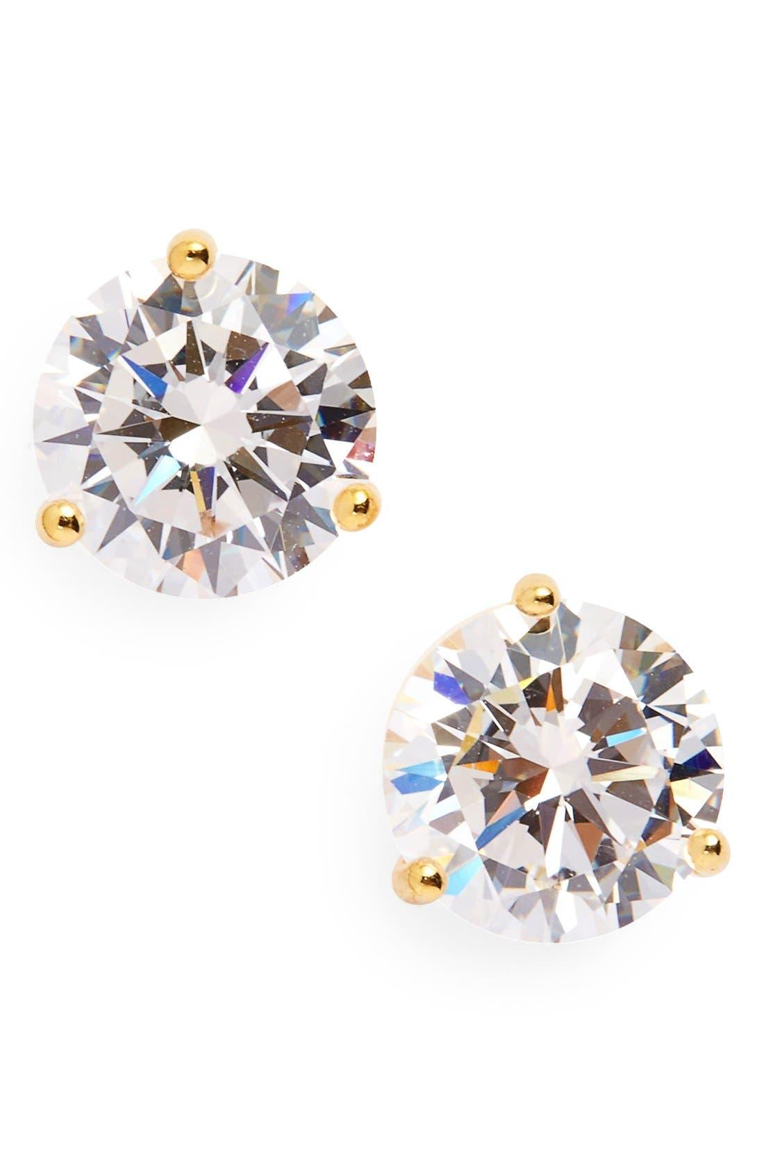3ct tw Cubic Zirconia Earrings,                         Main,                         color, Gold Vermeil