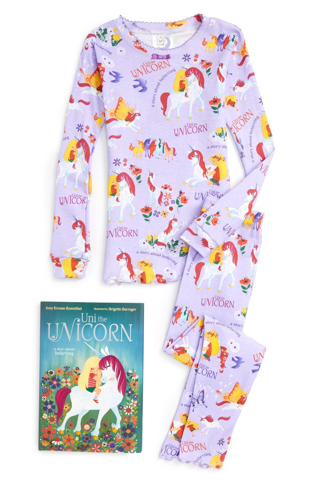 Main Image - Books to Bed Uni the Unicorn Fitted Two-Piece Pajamas & Book Set (Toddler Girls, Little Girls & Big Girls)