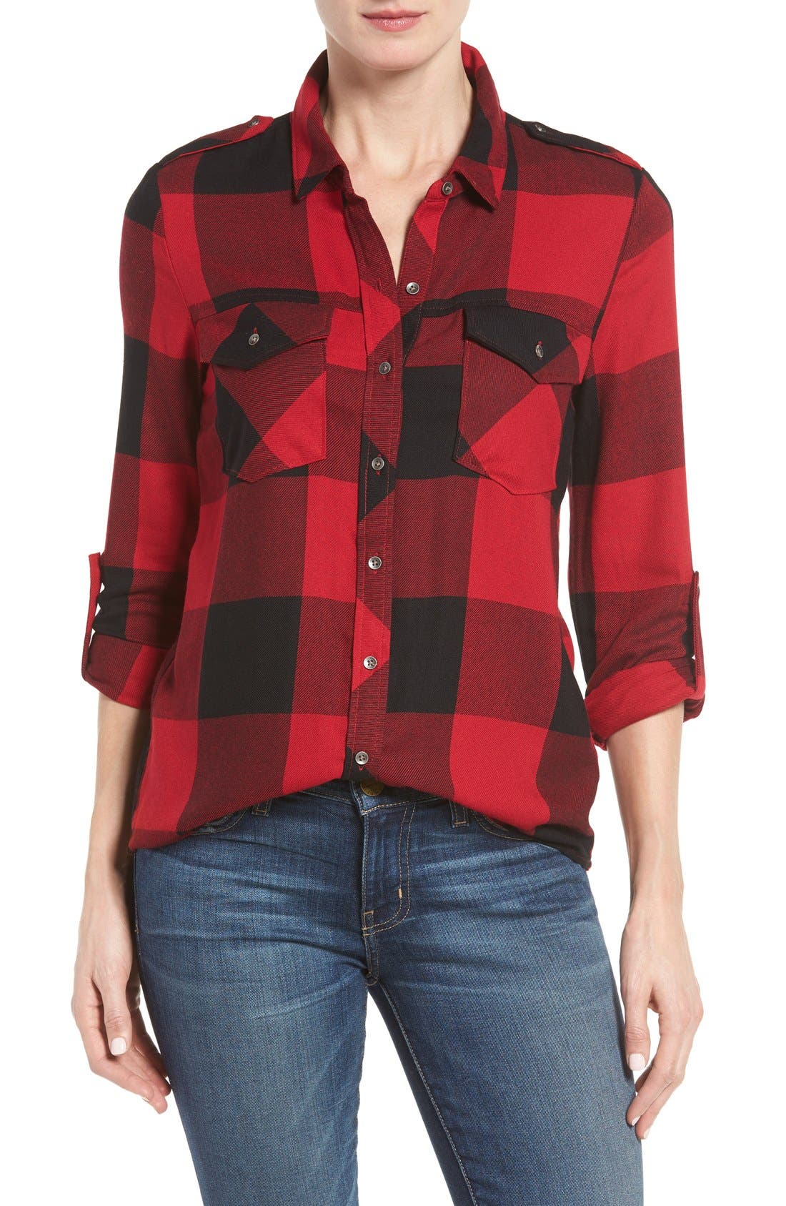 Alternate Image 1 Selected - Dex Roll Sleeve Plaid Shirt