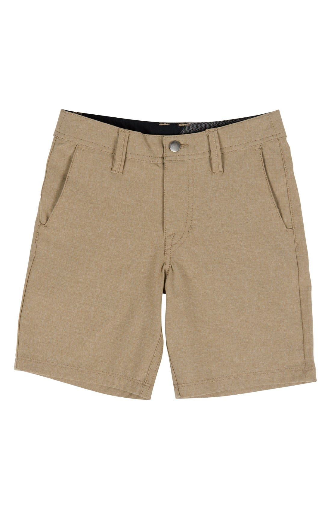 Surf N' Turf Static Hybrid Shorts,                             Main thumbnail 1, color,                             Khaki Dark