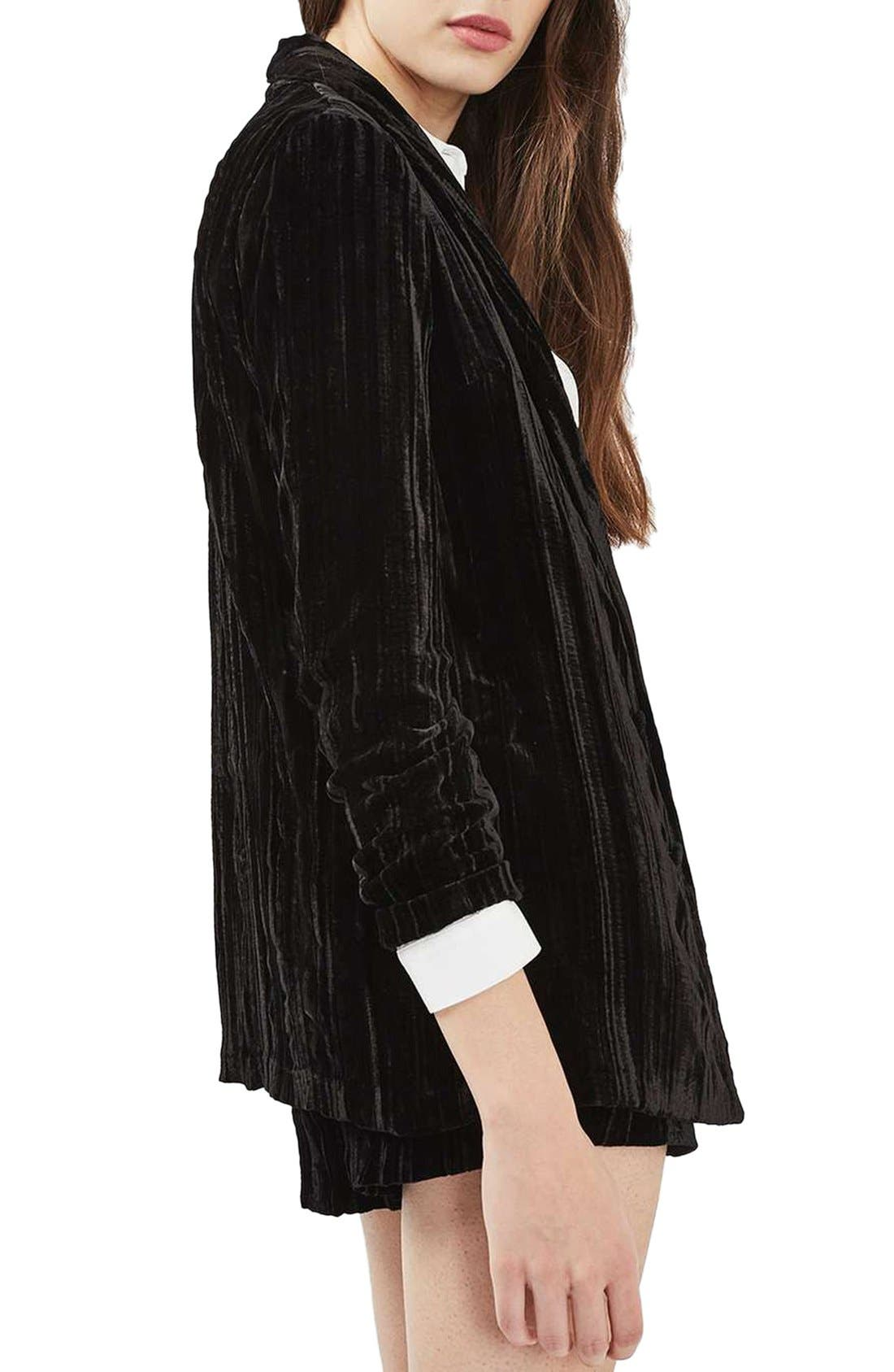Alternate Image 3  - Topshop Pleat Velvet Blazer
