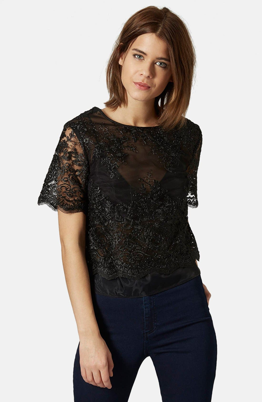 Main Image - Topshop Lace Overlay Tee