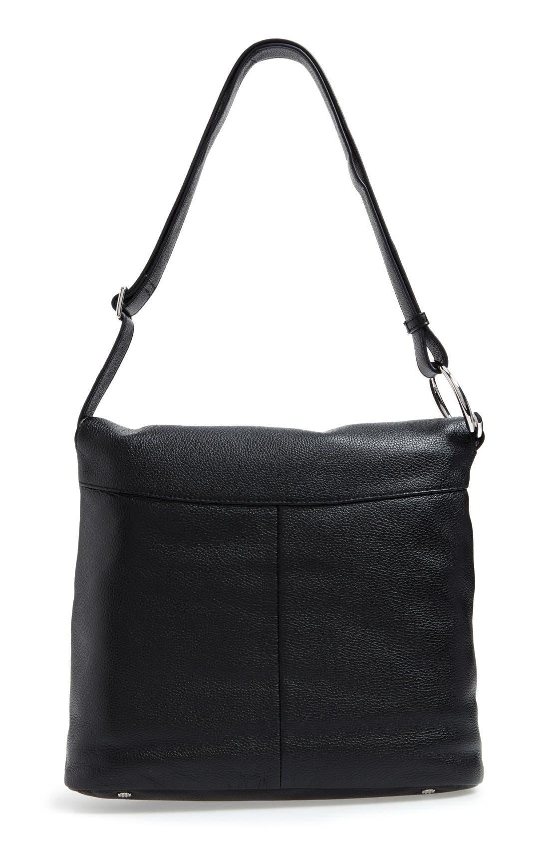 Finley Leather Hobo Bag,                             Alternate thumbnail 3, color,                             Black
