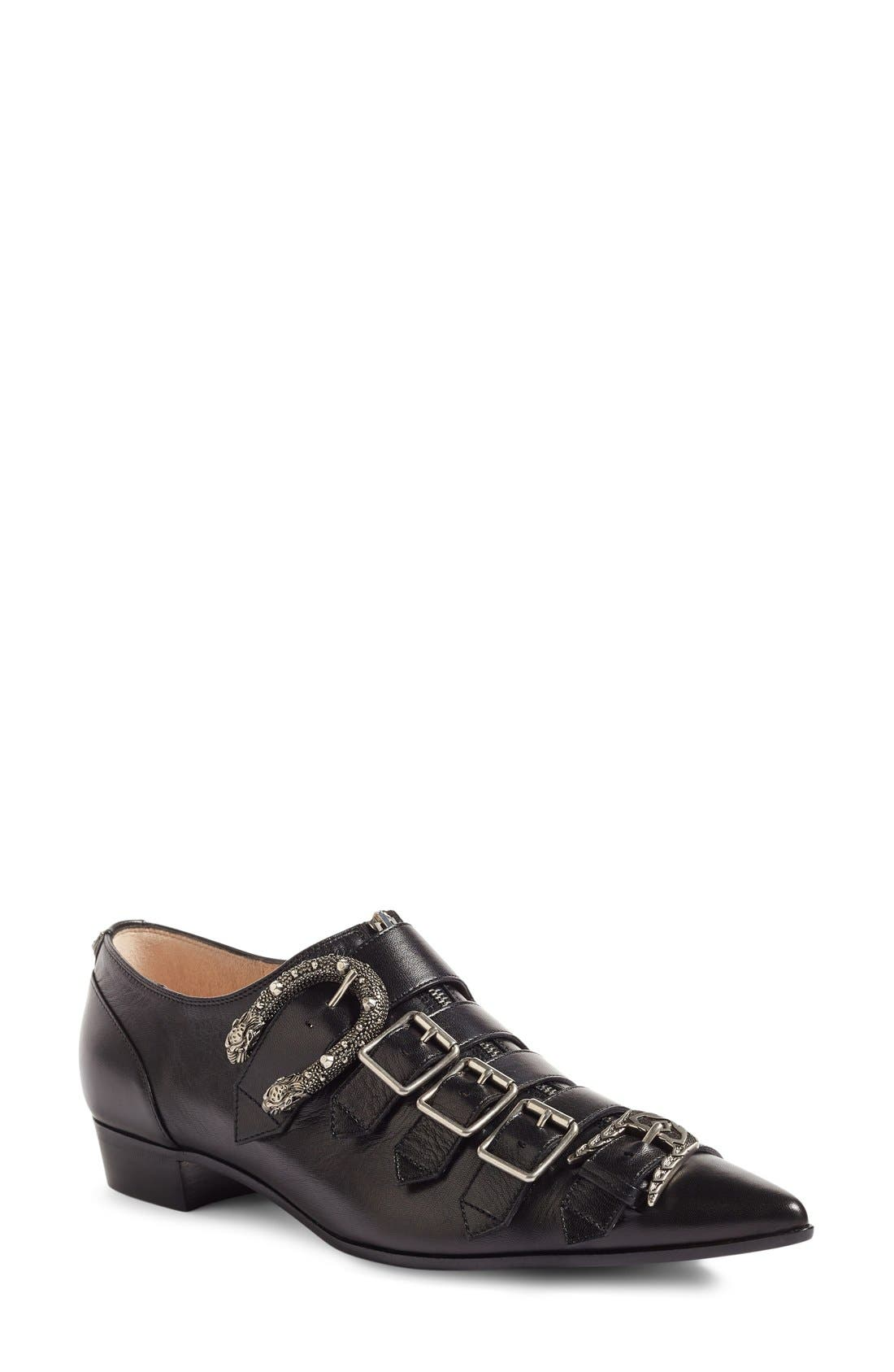 Susan Buckle Pointy Toe Loafer,                         Main,                         color, Black Leather