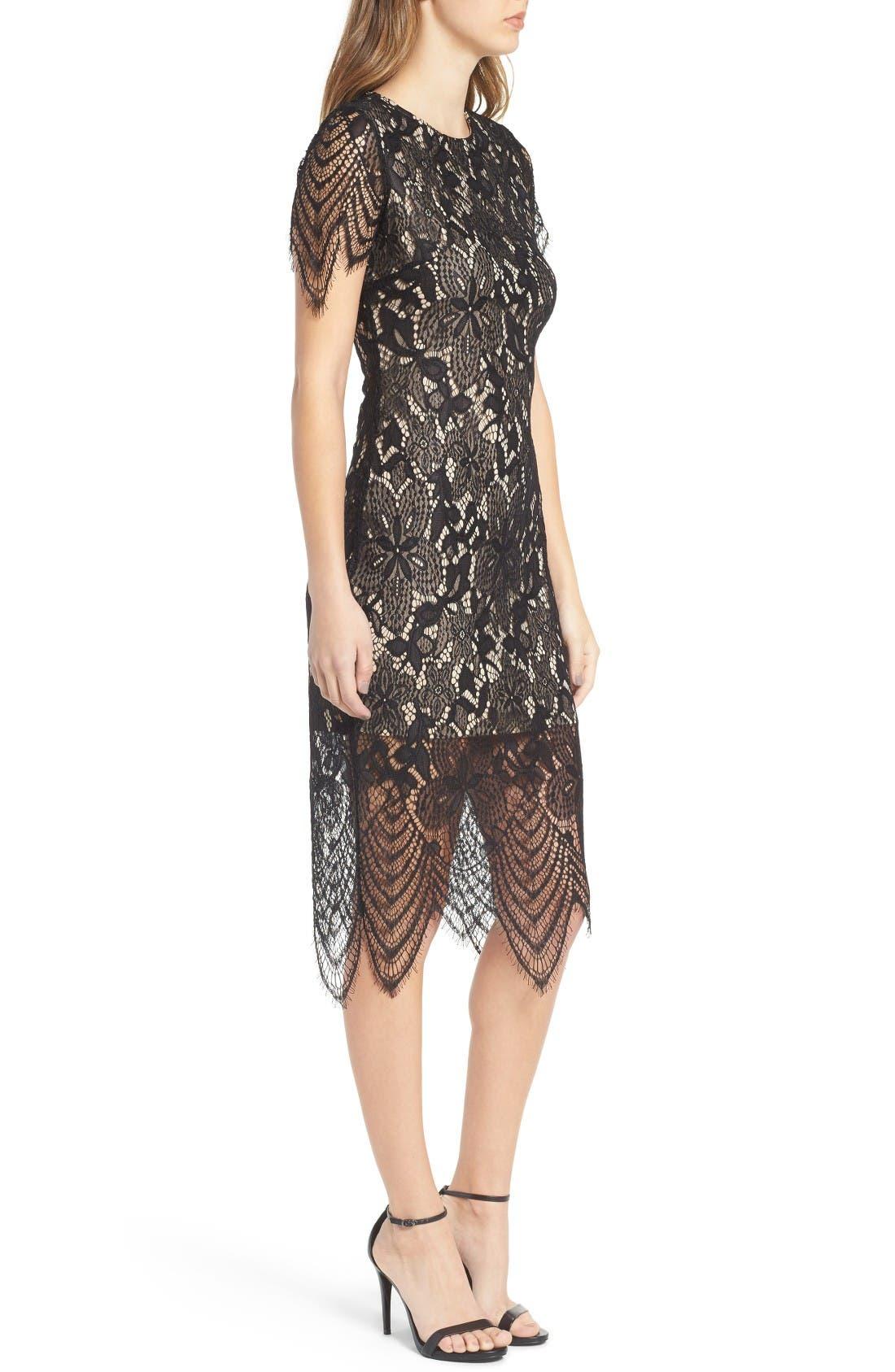 Scallop Lace Dress,                             Alternate thumbnail 3, color,                             Black