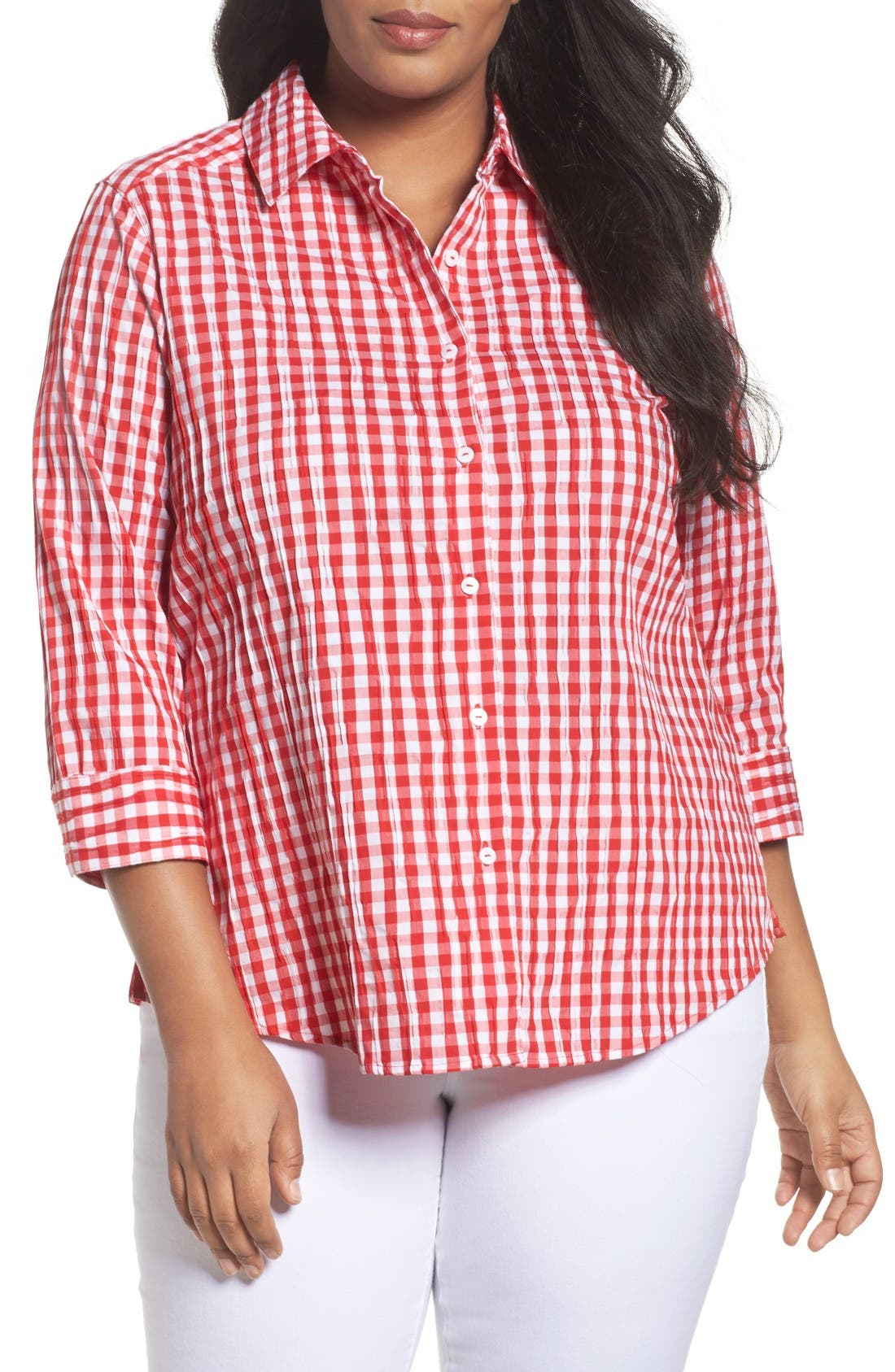 Gingham Shirt,                         Main,                         color, Ruby Red