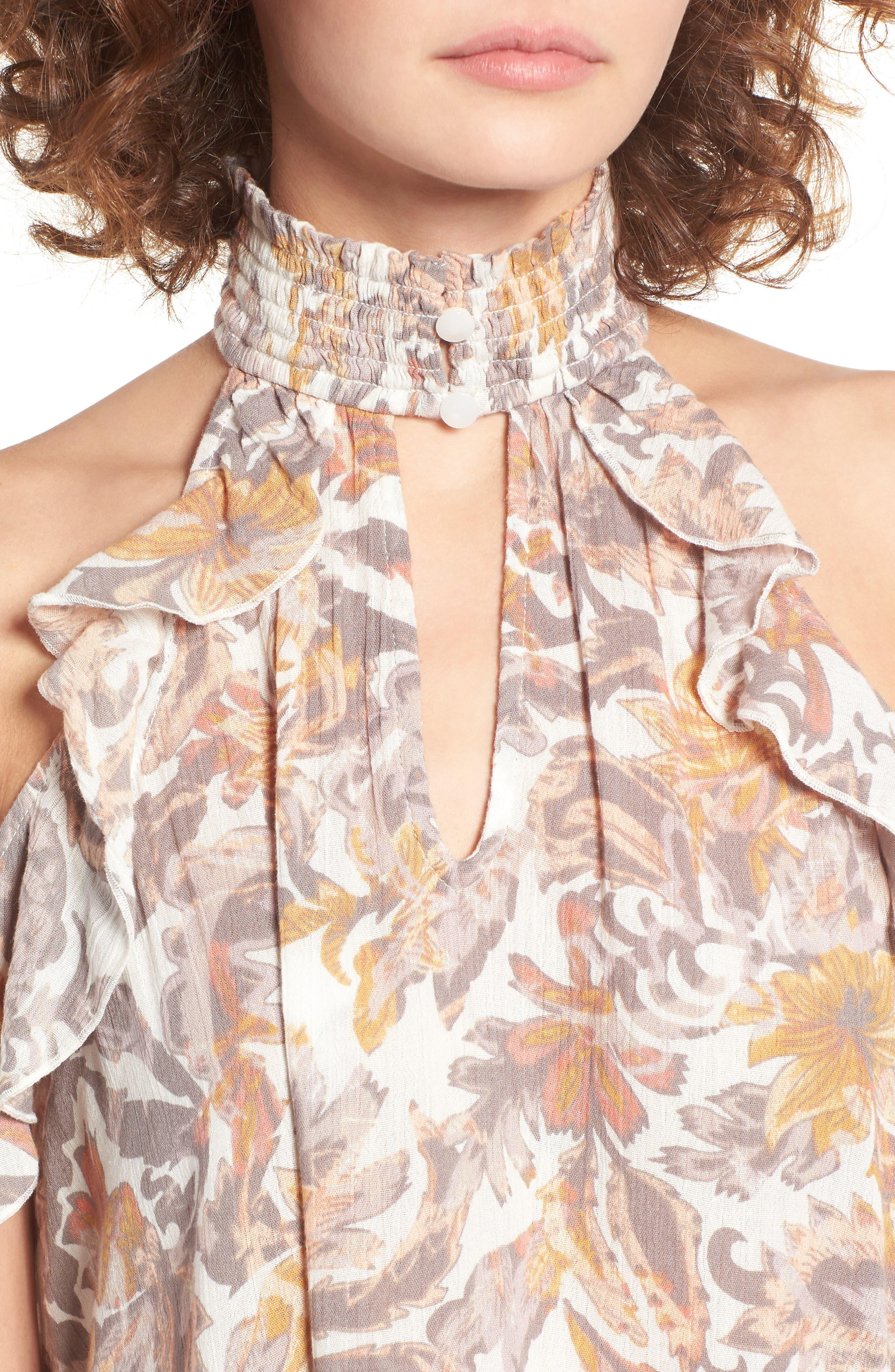 Alternate Image 4  - Sun & Shadow Smock Neck Cold Shoulder Blouse
