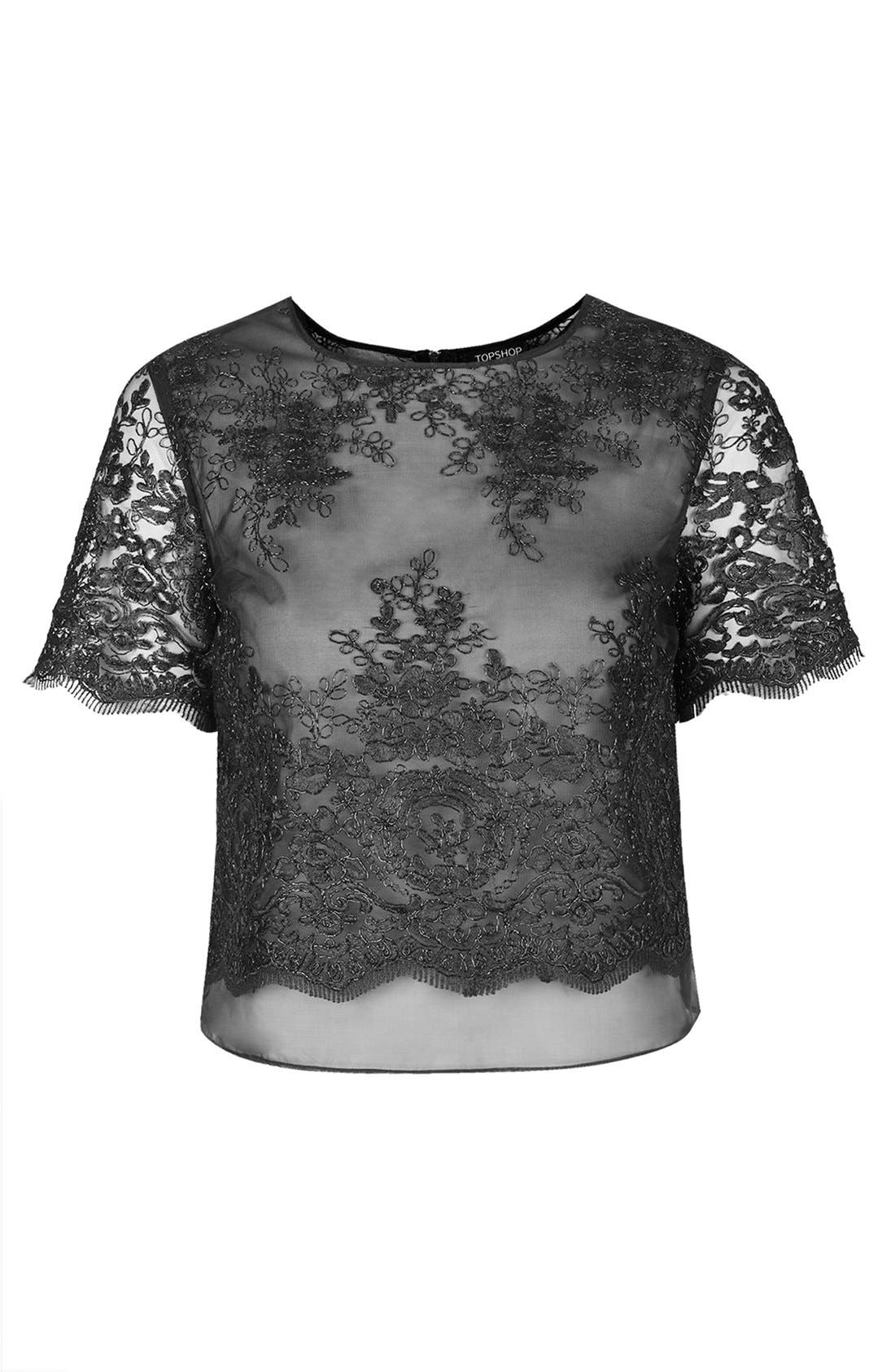 Alternate Image 3  - Topshop Lace Overlay Tee
