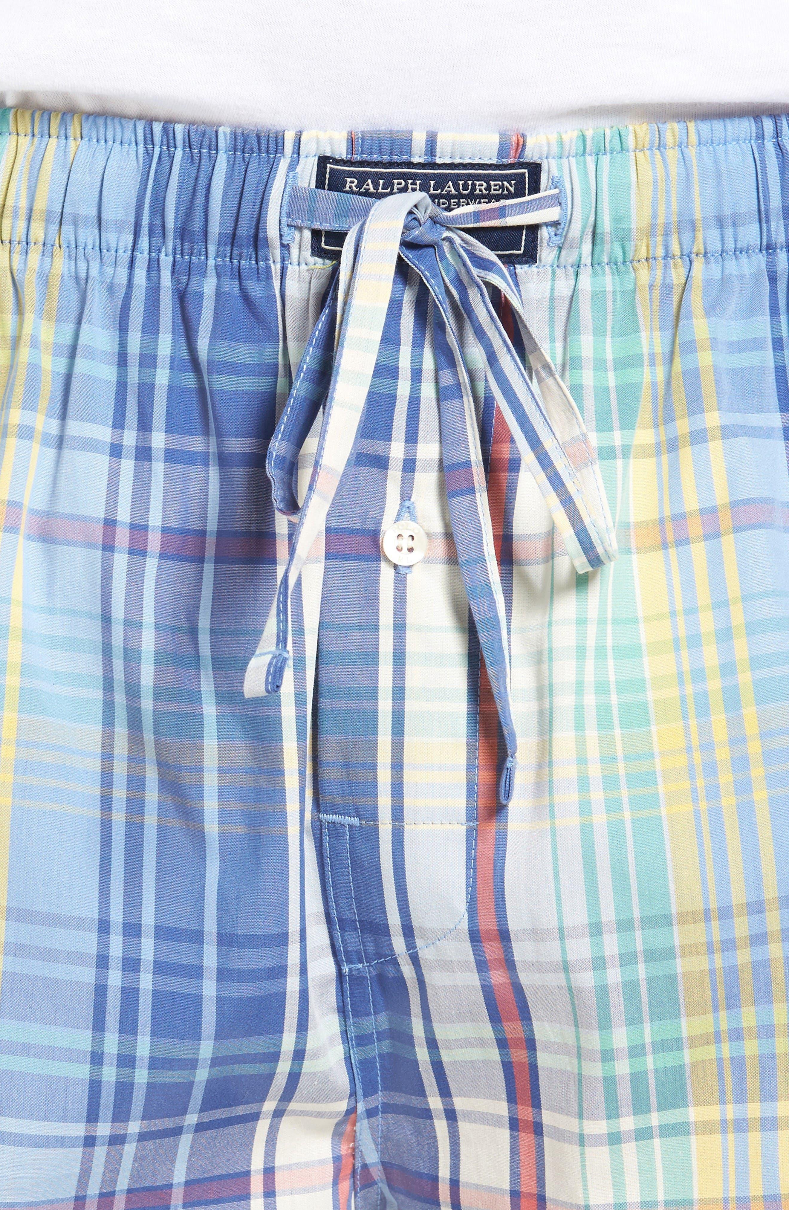 Cotton Pajama Shorts,                             Alternate thumbnail 4, color,                             Avery Plaid