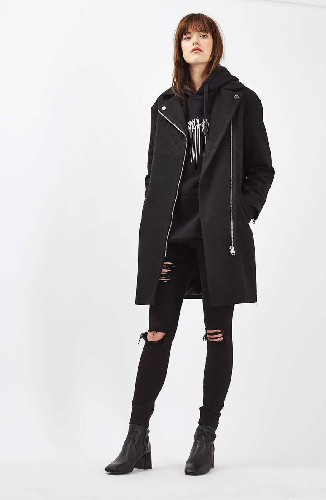 Alternate Image 2  - Topshop Asymmetrical Biker Coat