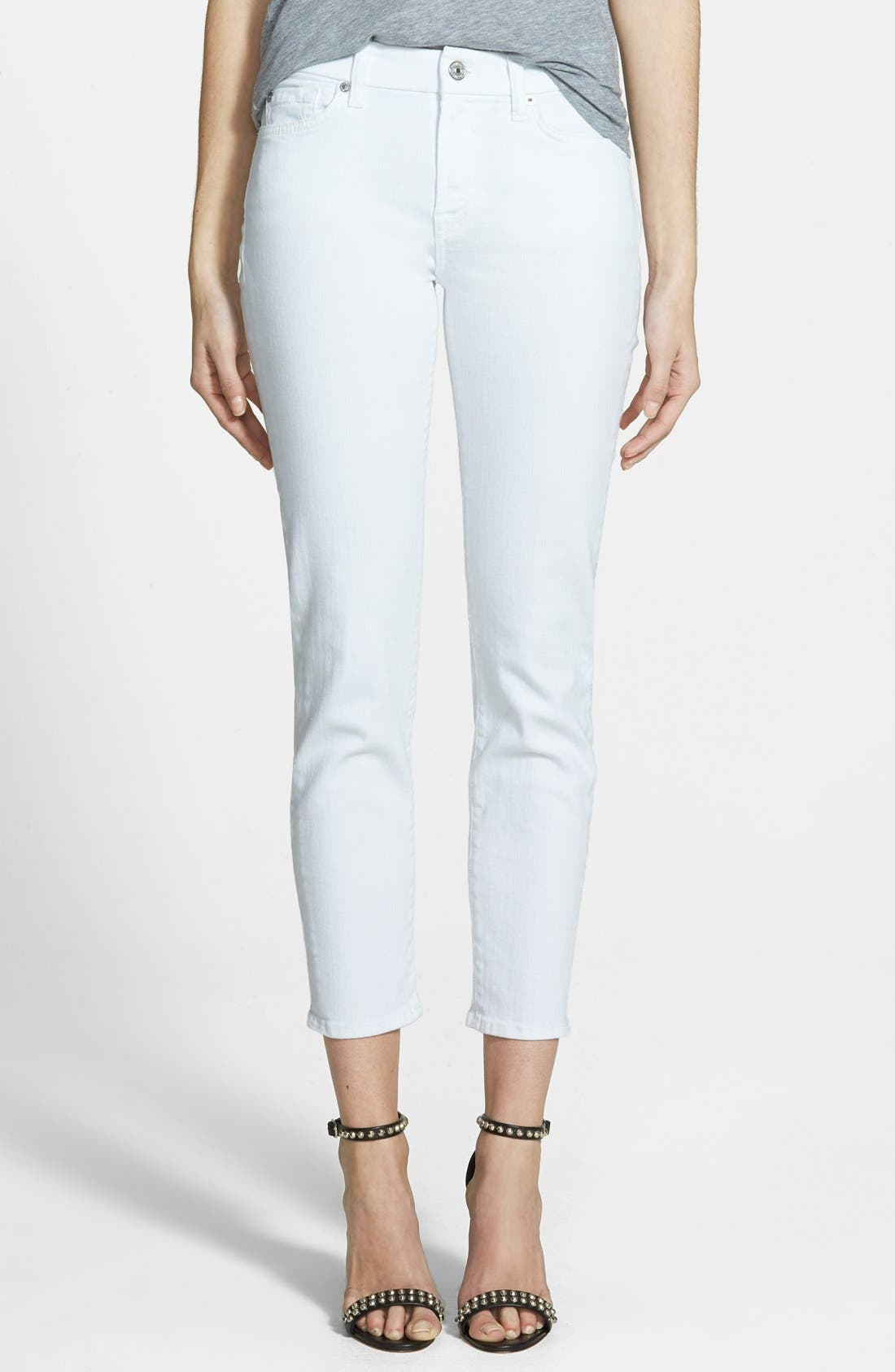 'Kimmie' Crop Skinny Jeans,                             Main thumbnail 1, color,                             Clean White