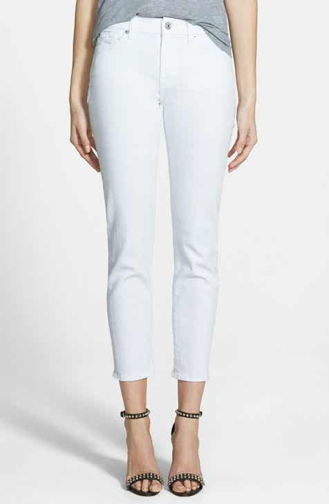 7 For All Mankind® 'Kimmie' Crop Skinny Jeans (Clean White) by 7 FOR ALL MANKIND