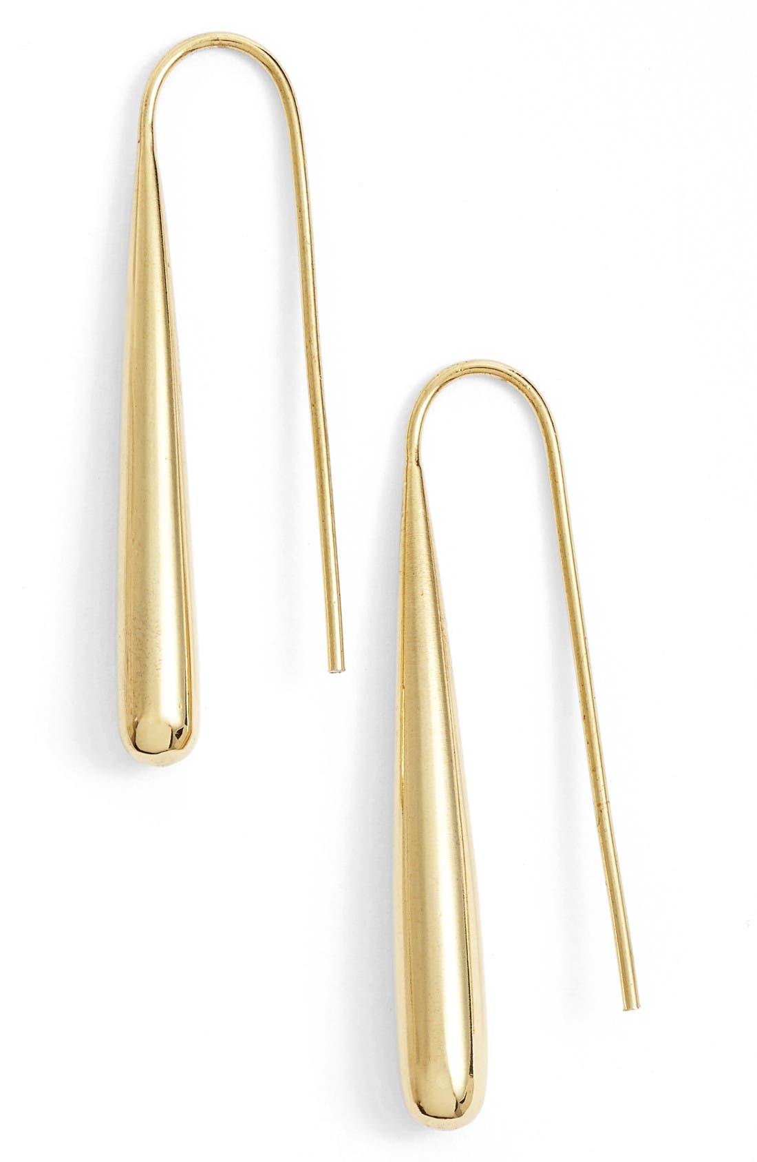Teardrop Threader Earrings,                         Main,                         color, Brass