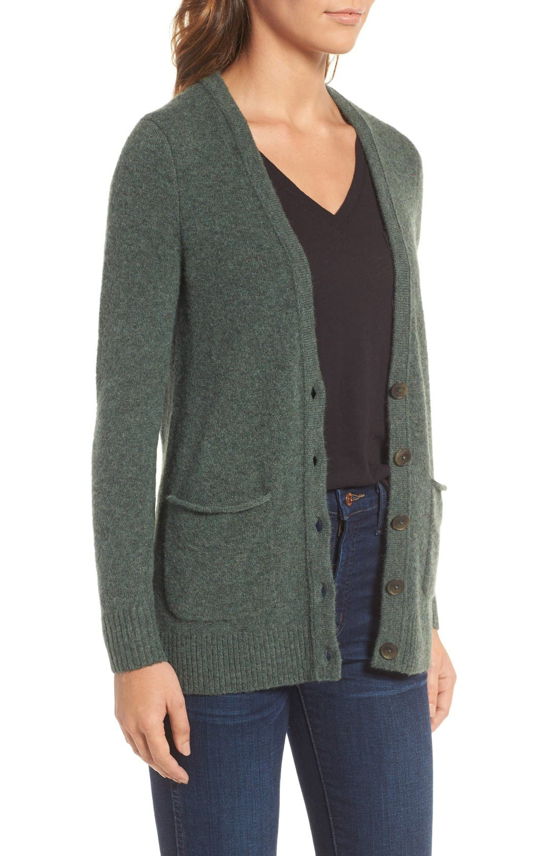 Cozy Boyfriend Cardigan,                             Alternate thumbnail 3, color,                             Heather Evergreen