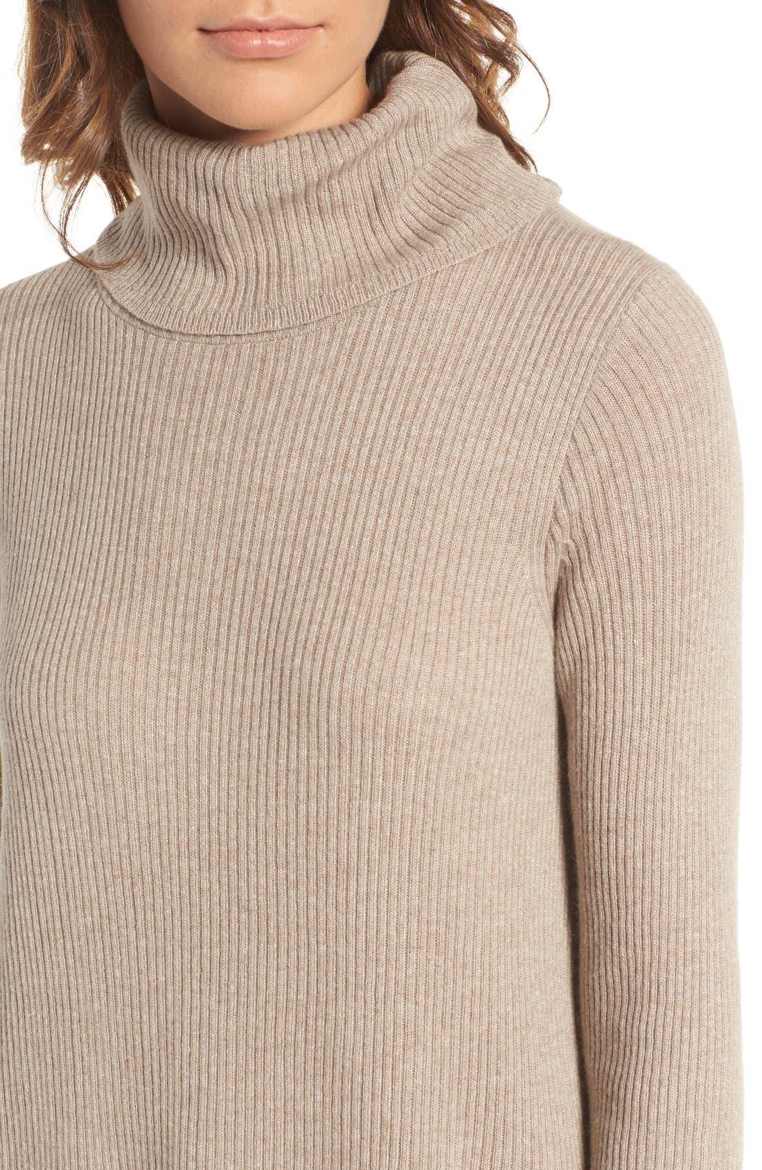 Turtleneck Sweater Dress,                             Alternate thumbnail 4, color,                             Heather Hazelwood