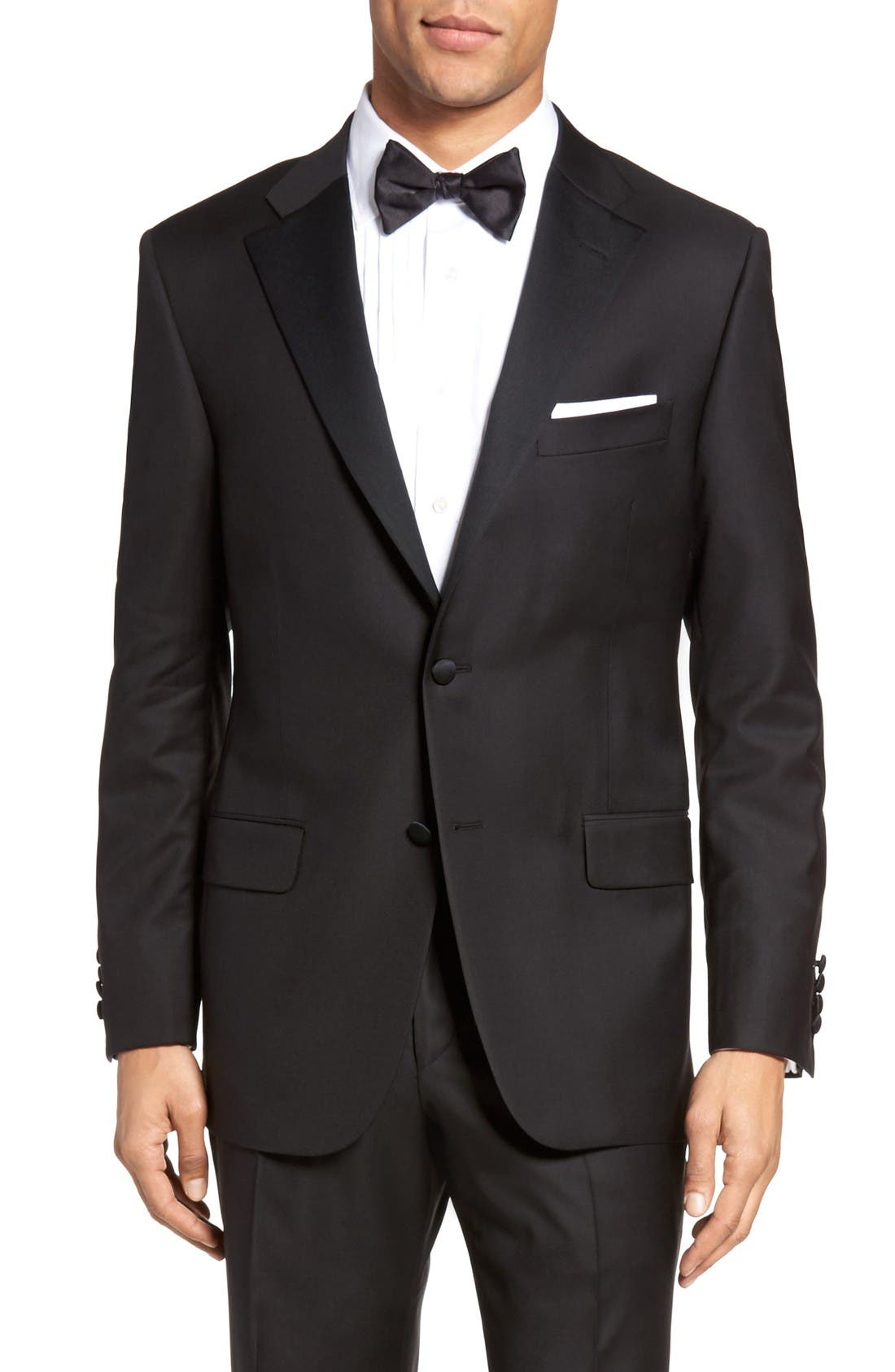 Classic B Fit Wool Tuxedo,                             Alternate thumbnail 4, color,                             Black