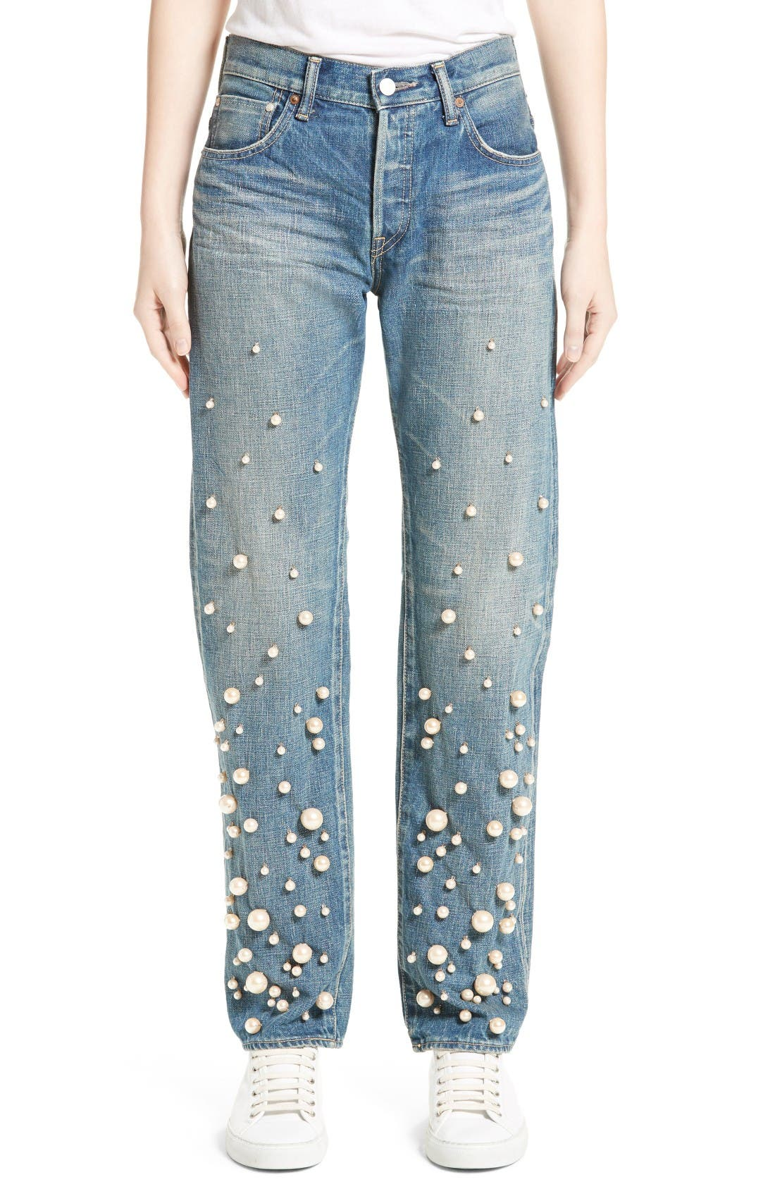 Snow Imitation Pearl Embellished Jeans,                         Main,                         color, Pearl