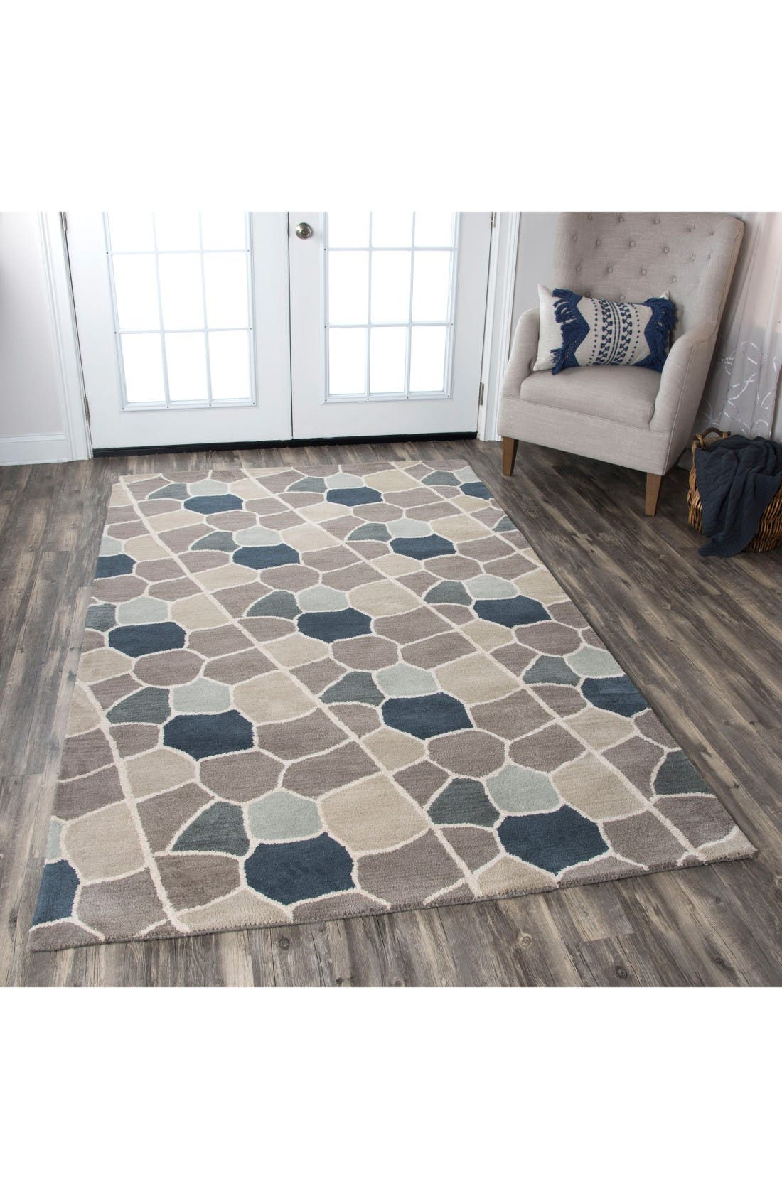 Cobble Geo Hand Tufted Wool Area Rug,                             Alternate thumbnail 5, color,                             Grey/ Blue