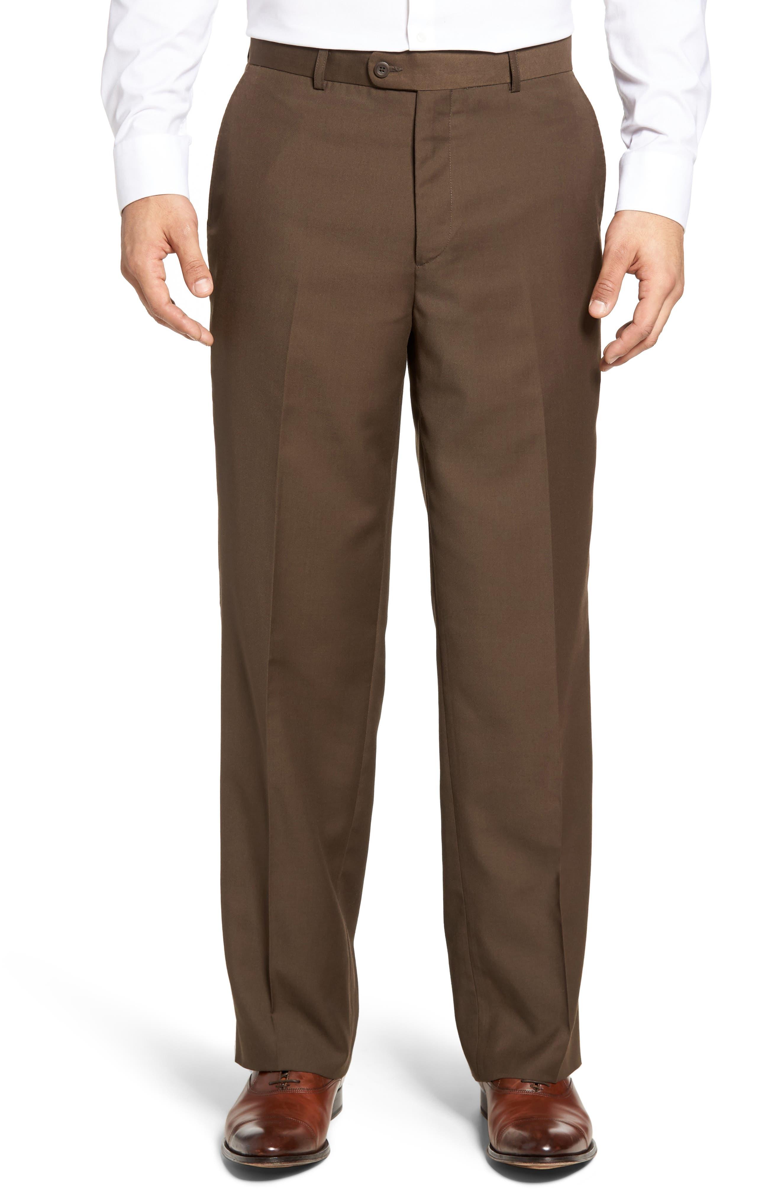 'Travel Genius - Hawk' Flat Front Pants,                             Main thumbnail 1, color,                             Brown