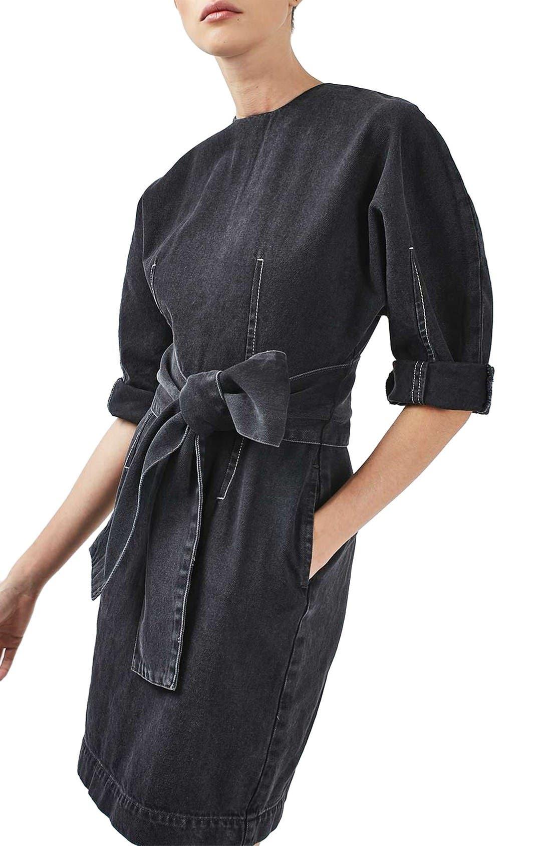 Alternate Image 4  - Topshop Boutique Dome Denim Dress