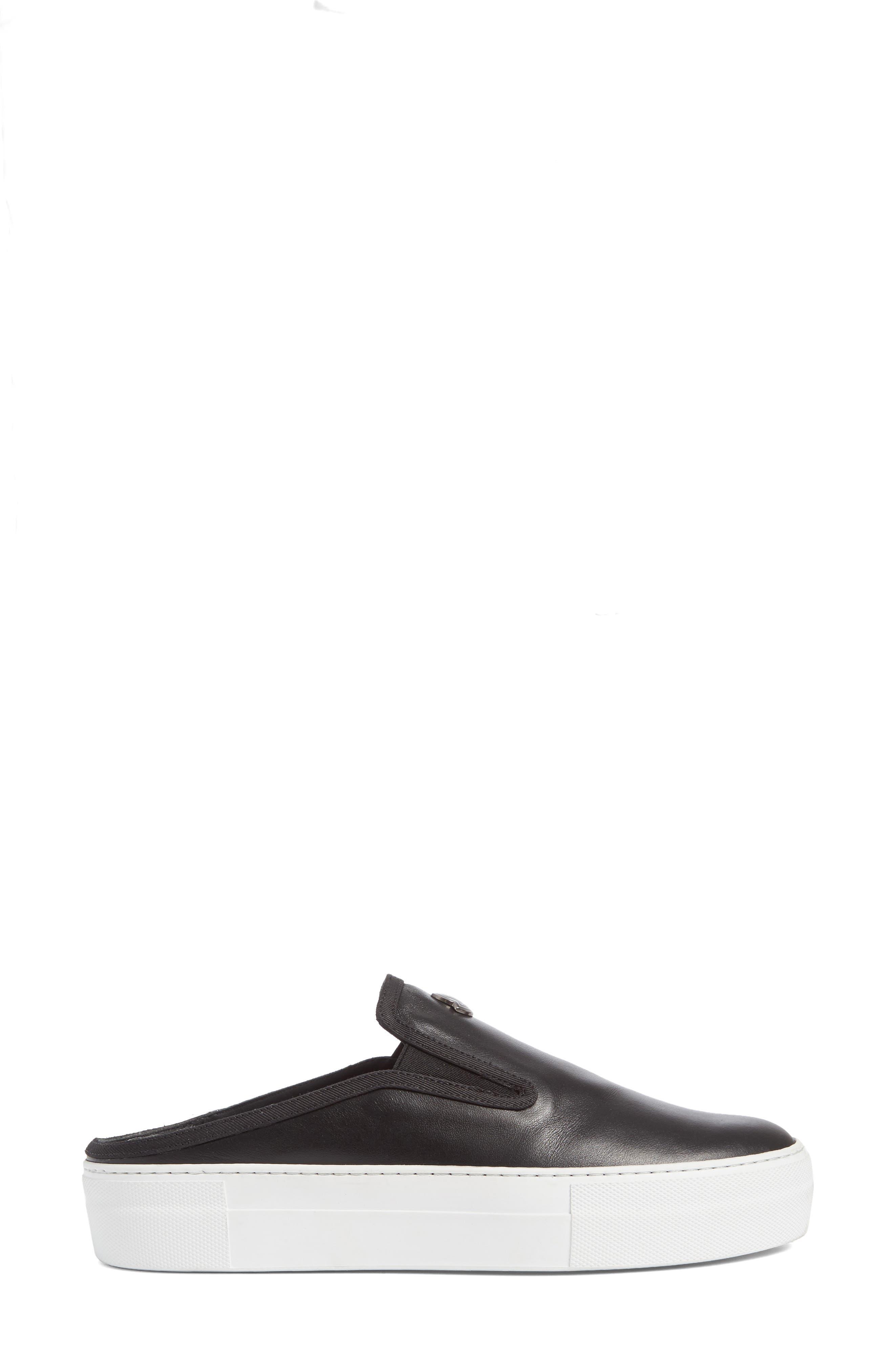 Tiphanie Backless Platform Sneaker,                             Alternate thumbnail 4, color,                             Black Leather