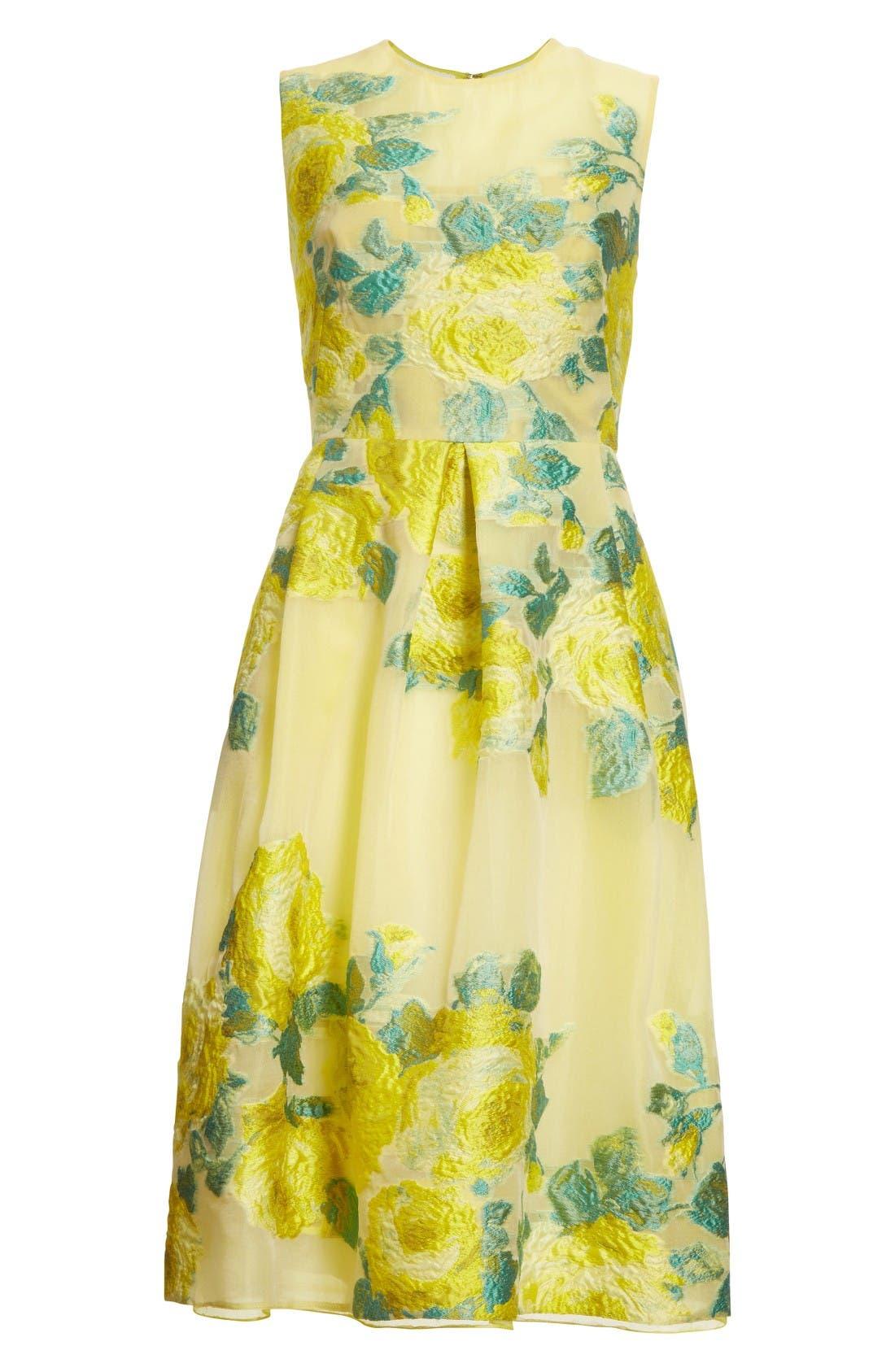Floral Fil Coupé Dress,                             Alternate thumbnail 4, color,                             Citrine Multi