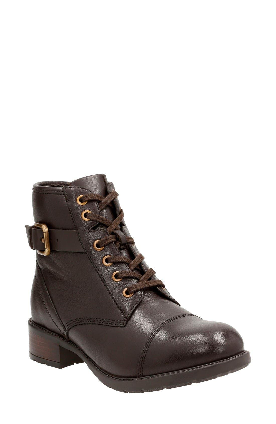 'Swansea Ledge' Waterproof Moto Boot,                             Main thumbnail 1, color,                             Dark Brown Leather