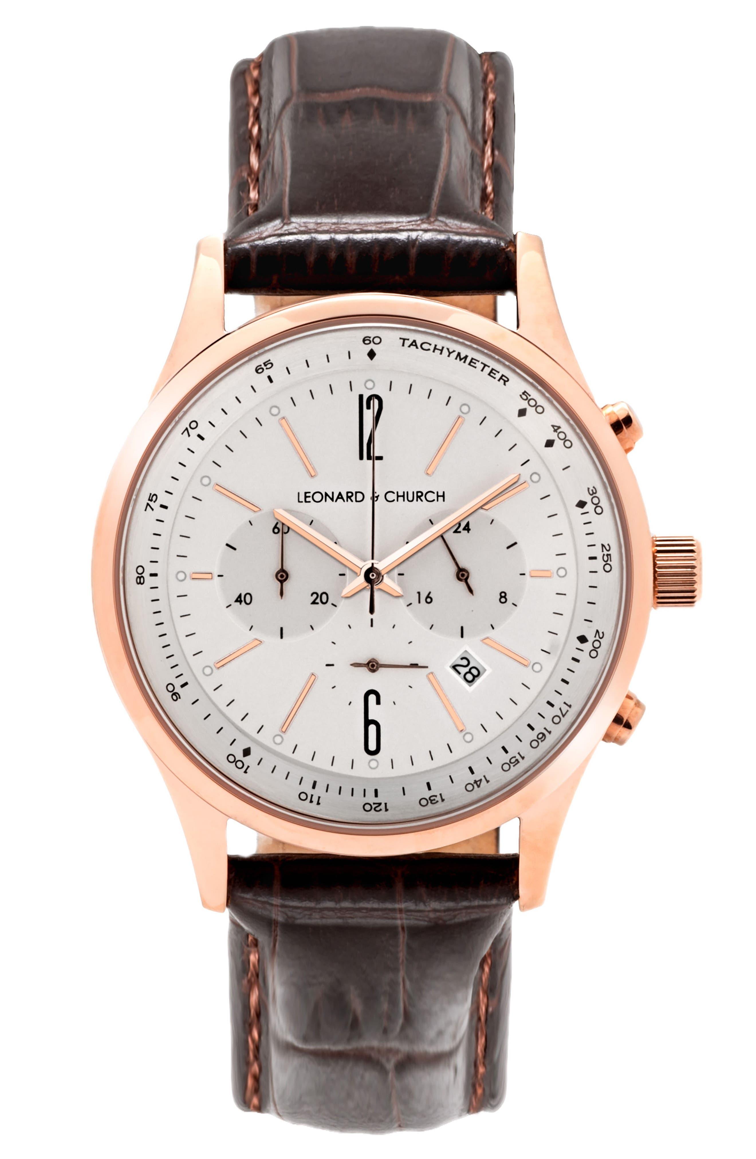 LEONARD AND CHURCH Leonard & Church Barclay Chronograph Leather Strap Watch, 43mm
