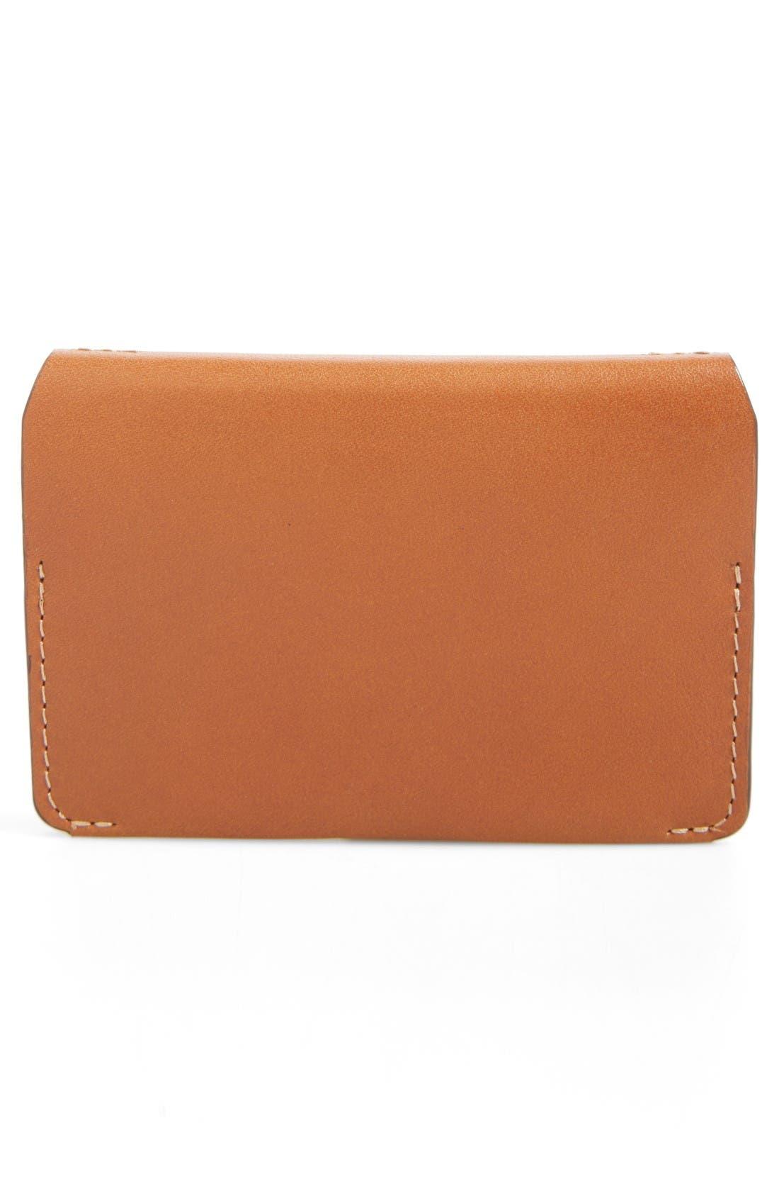 Leather Card Case,                             Alternate thumbnail 3, color,                             Caramel