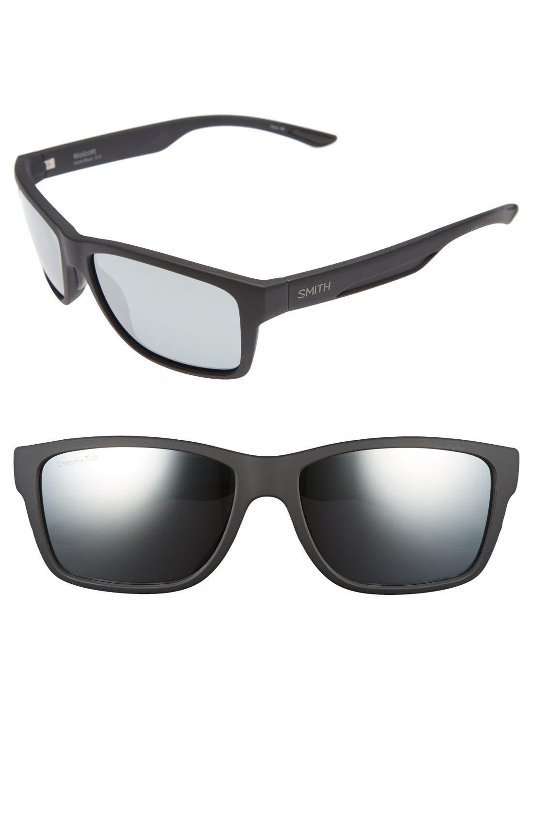 Wolcott 58mm Polarized Sunglasses,                         Main,                         color, Matte Black/ Platinum Lens