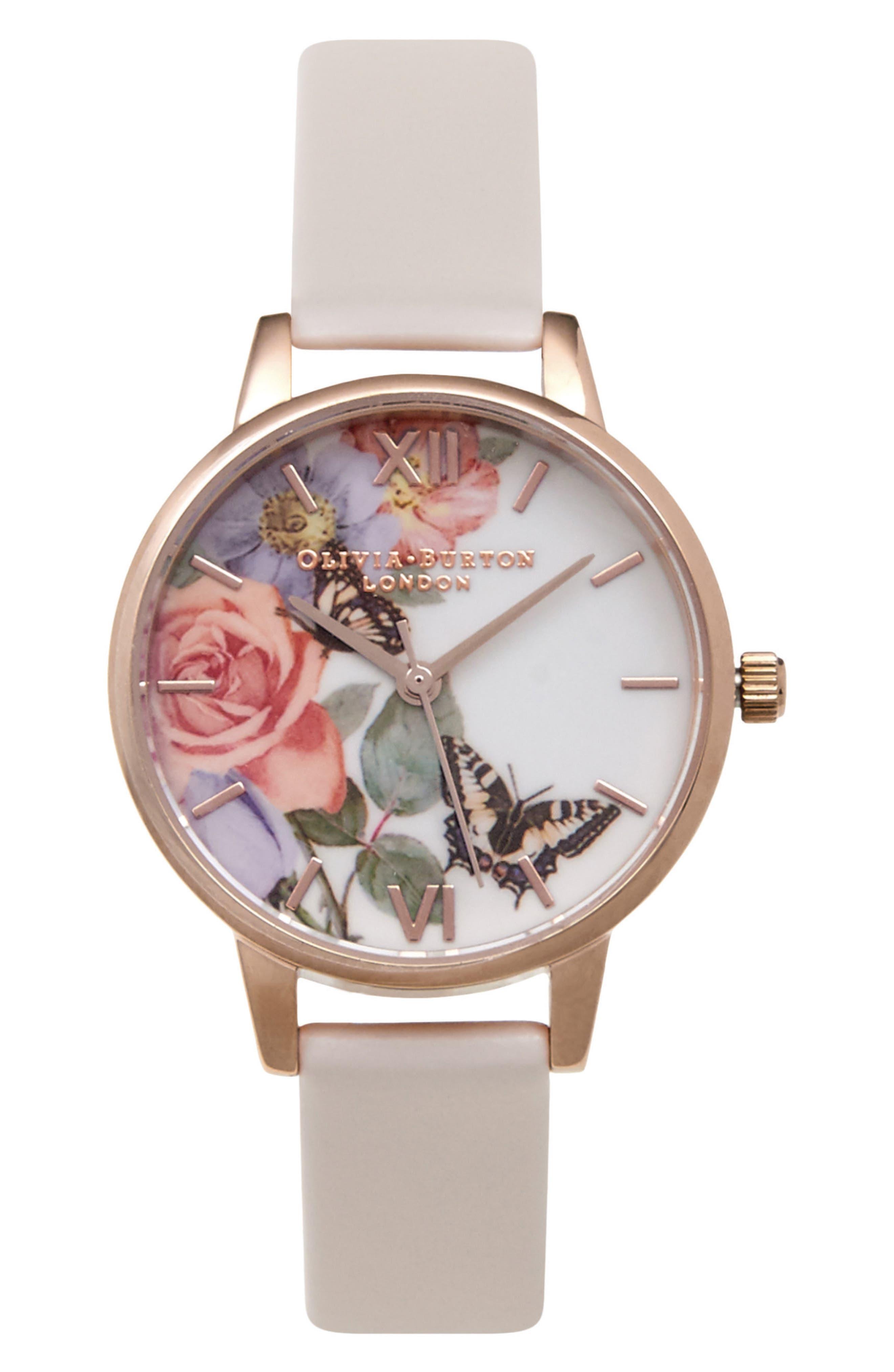 Alternate Image 1 Selected - Olivia Burton Enchanted Garden Leather Strap Watch, 30mm