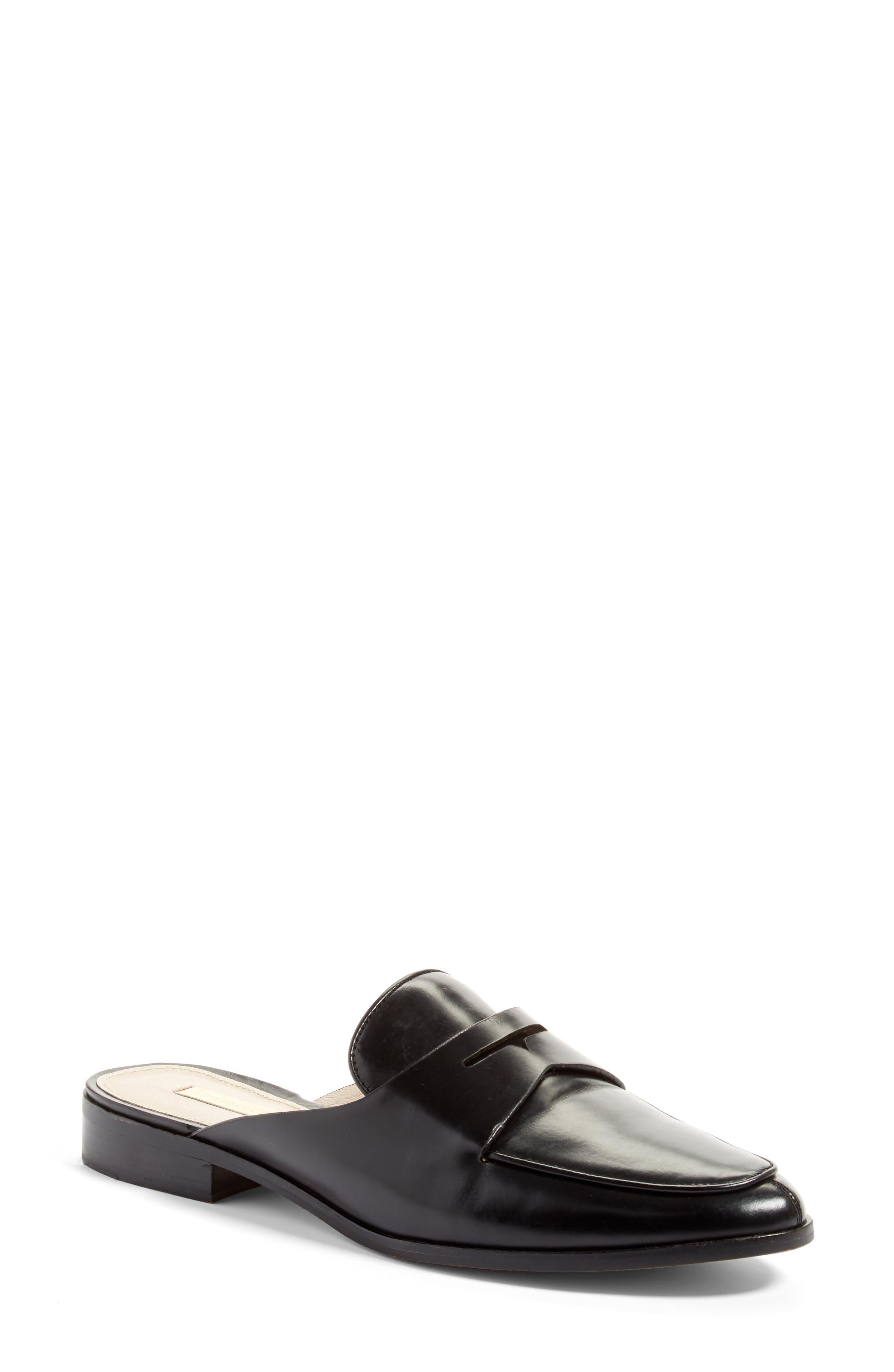Dugan Flat Loafer Mule,                             Main thumbnail 1, color,                             Black Leather