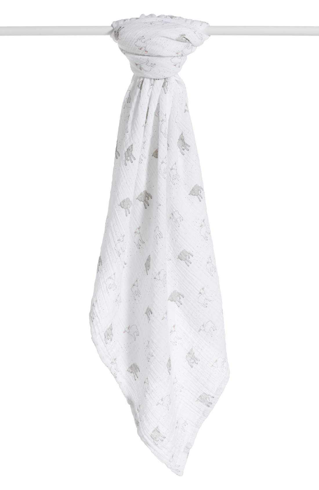 Little Lamb Swaddle Blanket,                             Alternate thumbnail 4, color,                             White