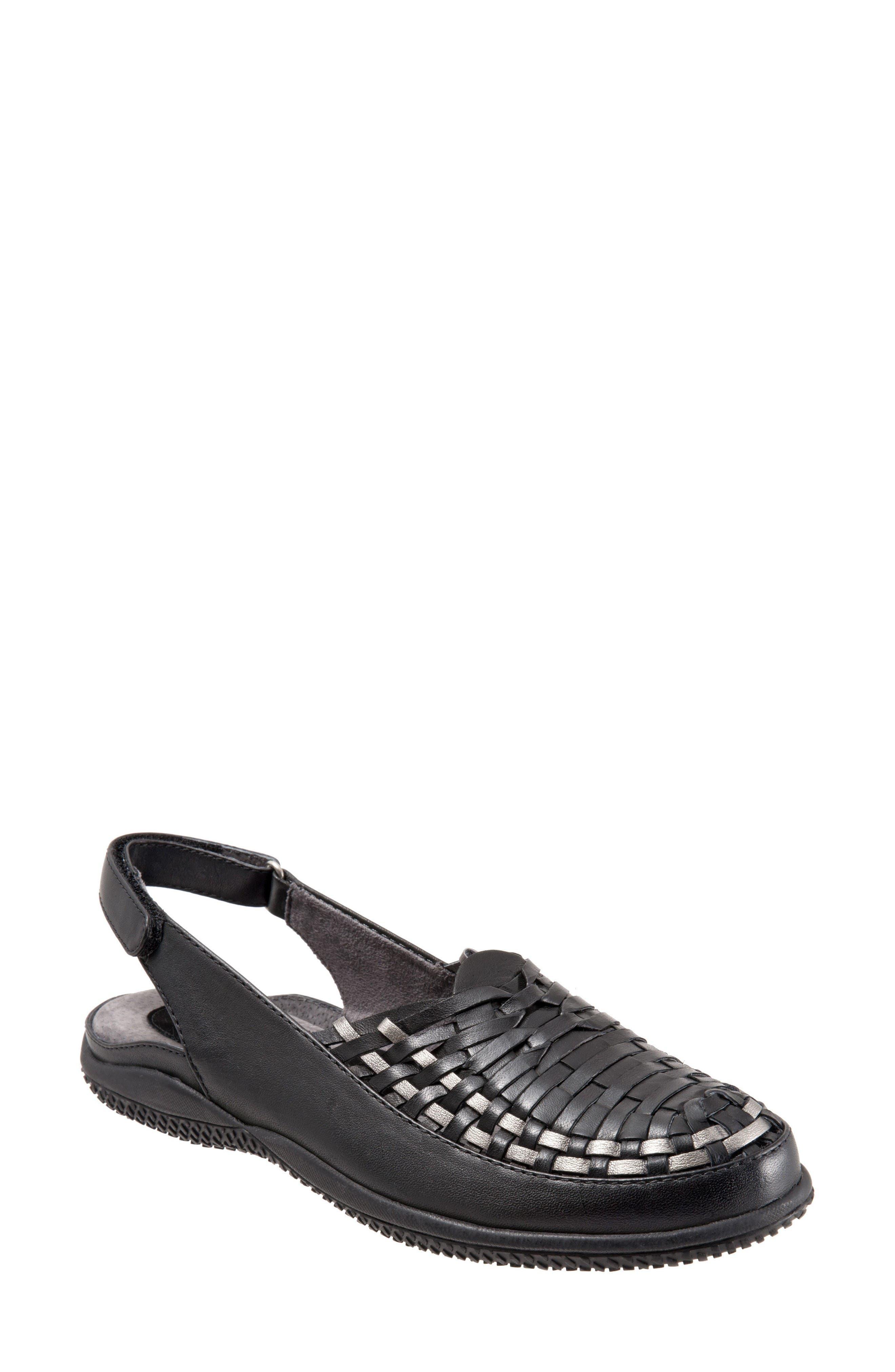 Harper Slingback Clog,                             Main thumbnail 1, color,                             Black/ Pewter Leather