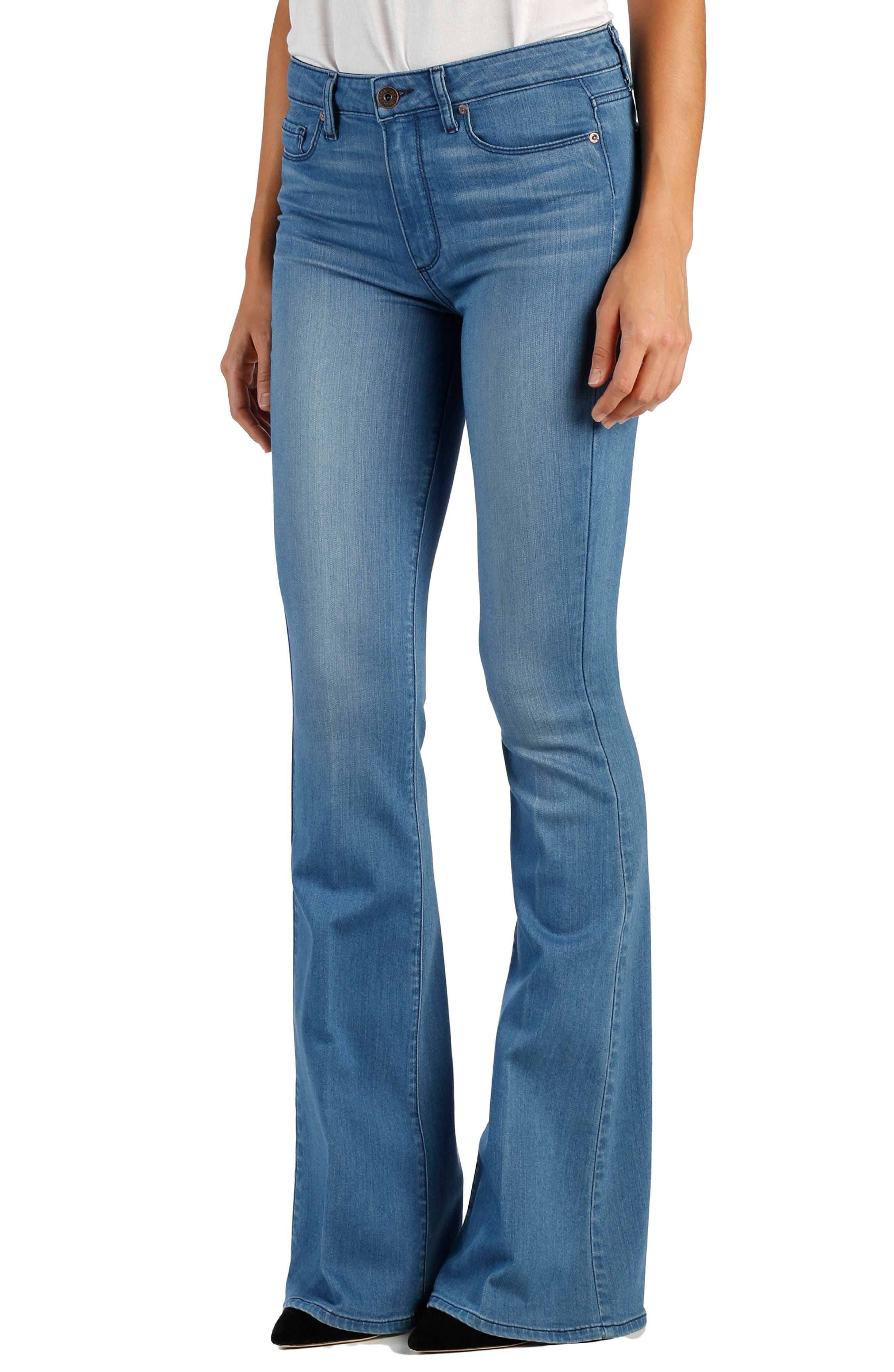 Transcend - Bell Canyon High Waist Flare Jeans,                             Main thumbnail 1, color,                             Harbor