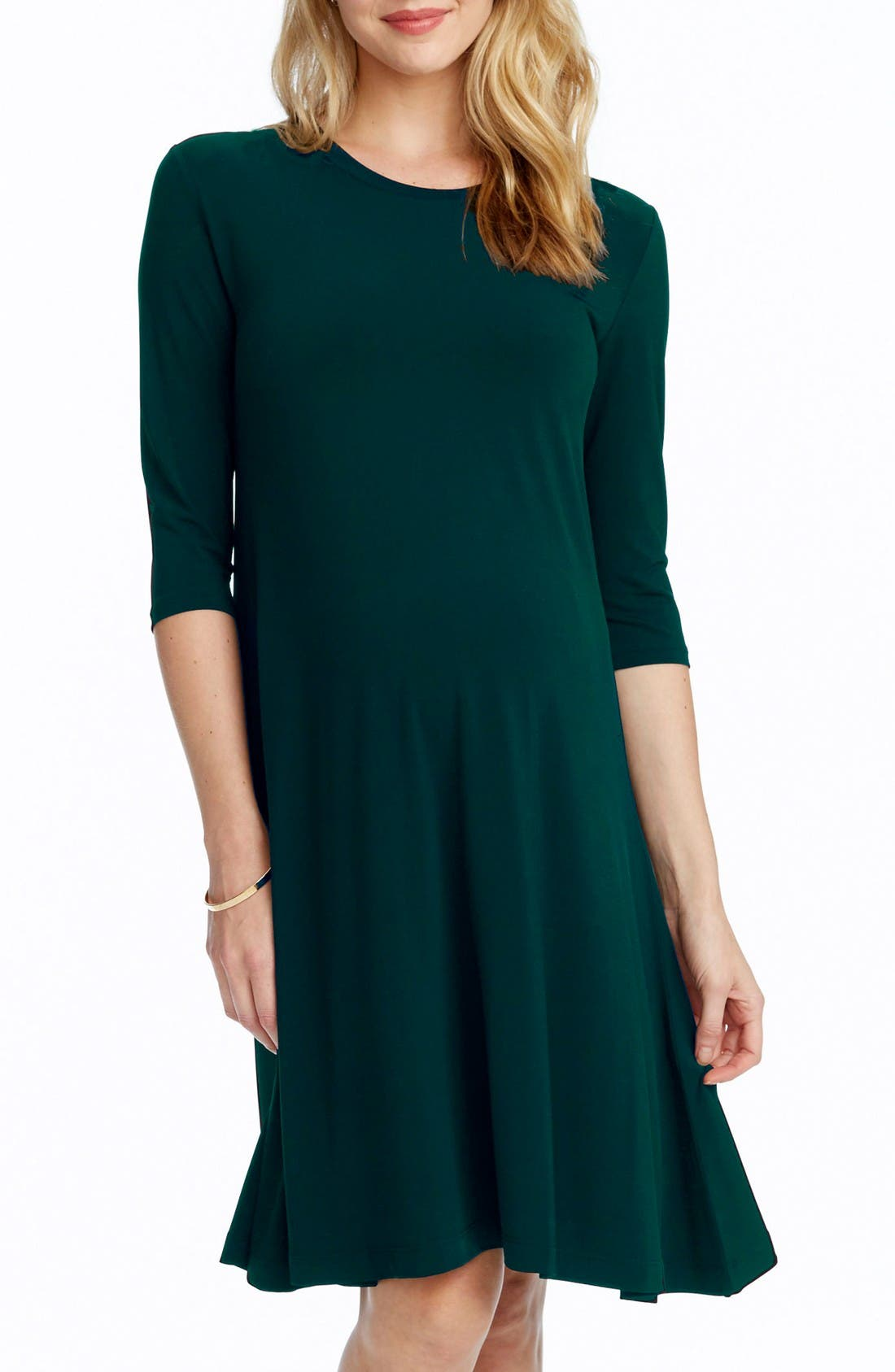 Tamra Maternity Swing Dress,                             Main thumbnail 1, color,                             Emerald