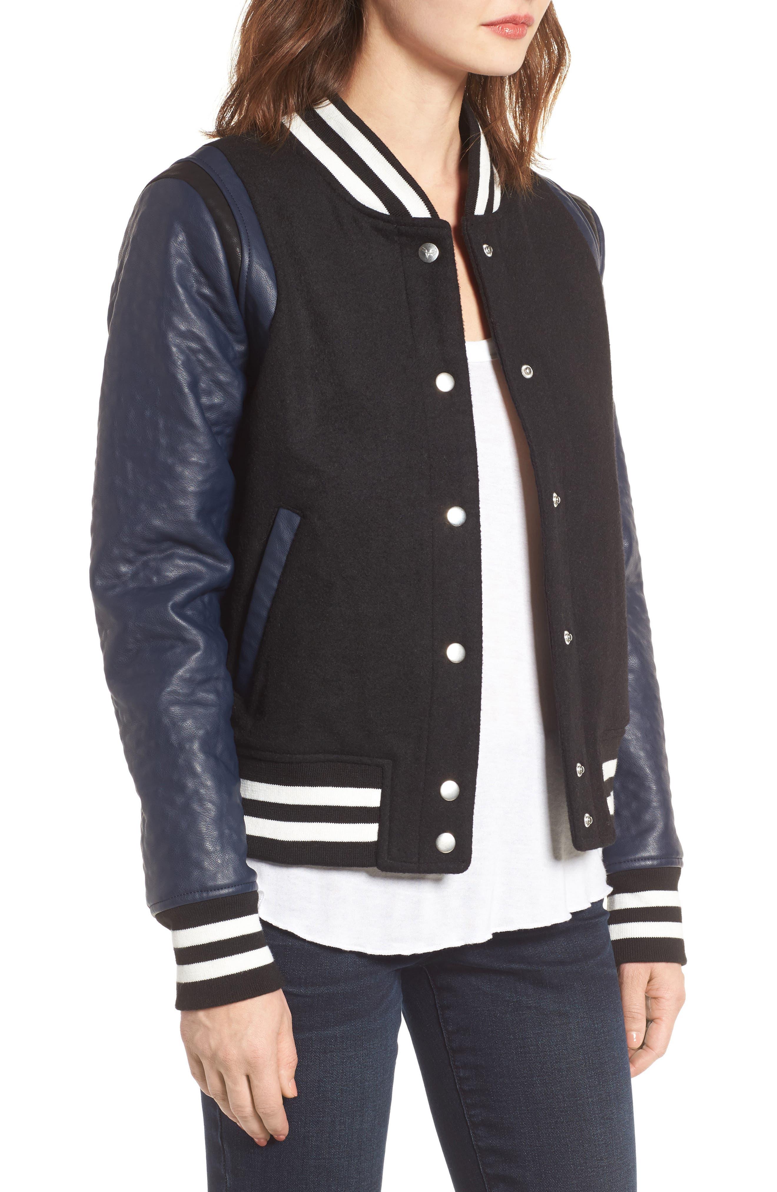 Alternate Image 3  - Vigoss Wool & Faux Leather Baseball Jacket