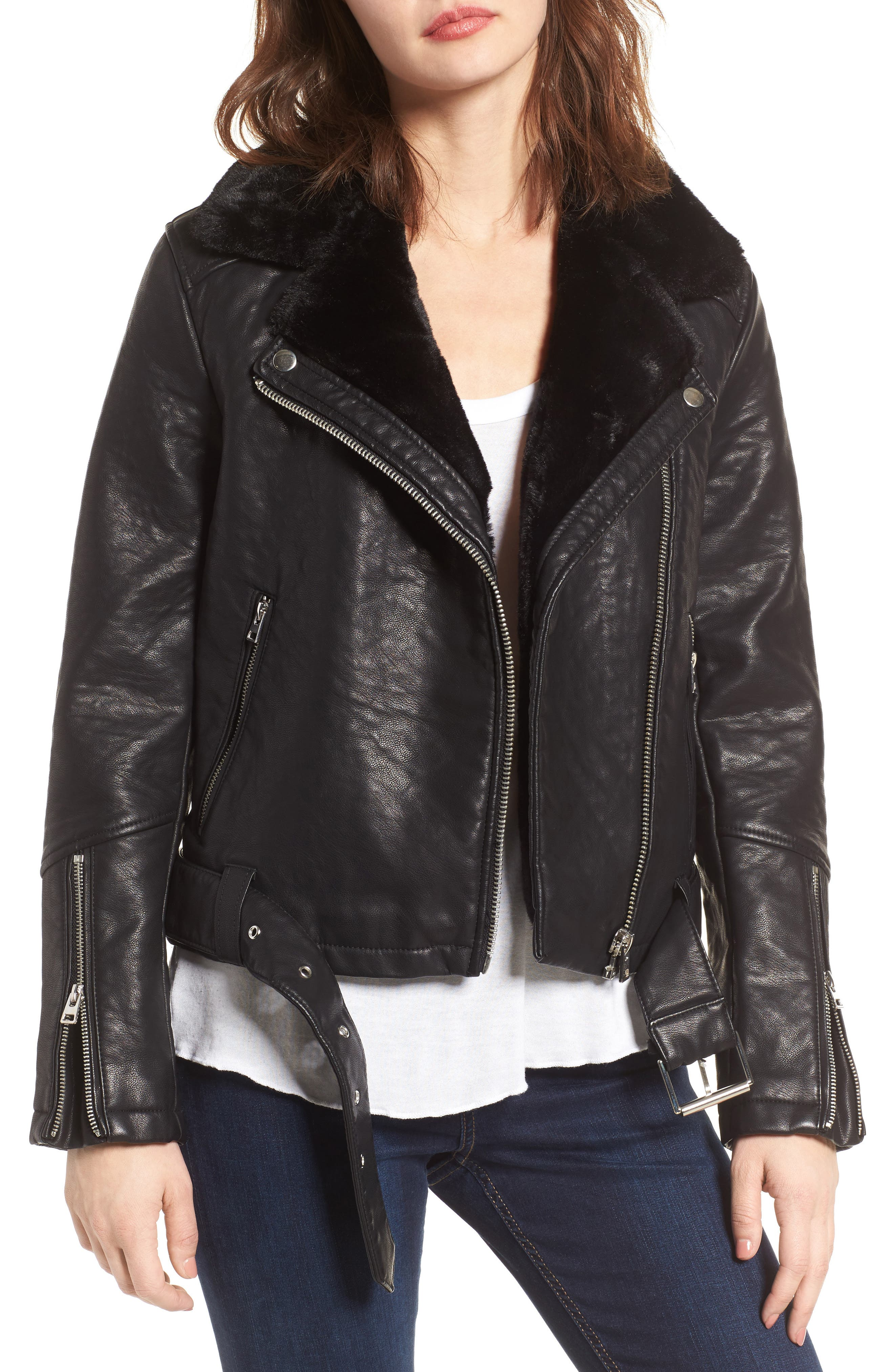 Main Image - Topshop Vardy Faux Leather Biker Jacket