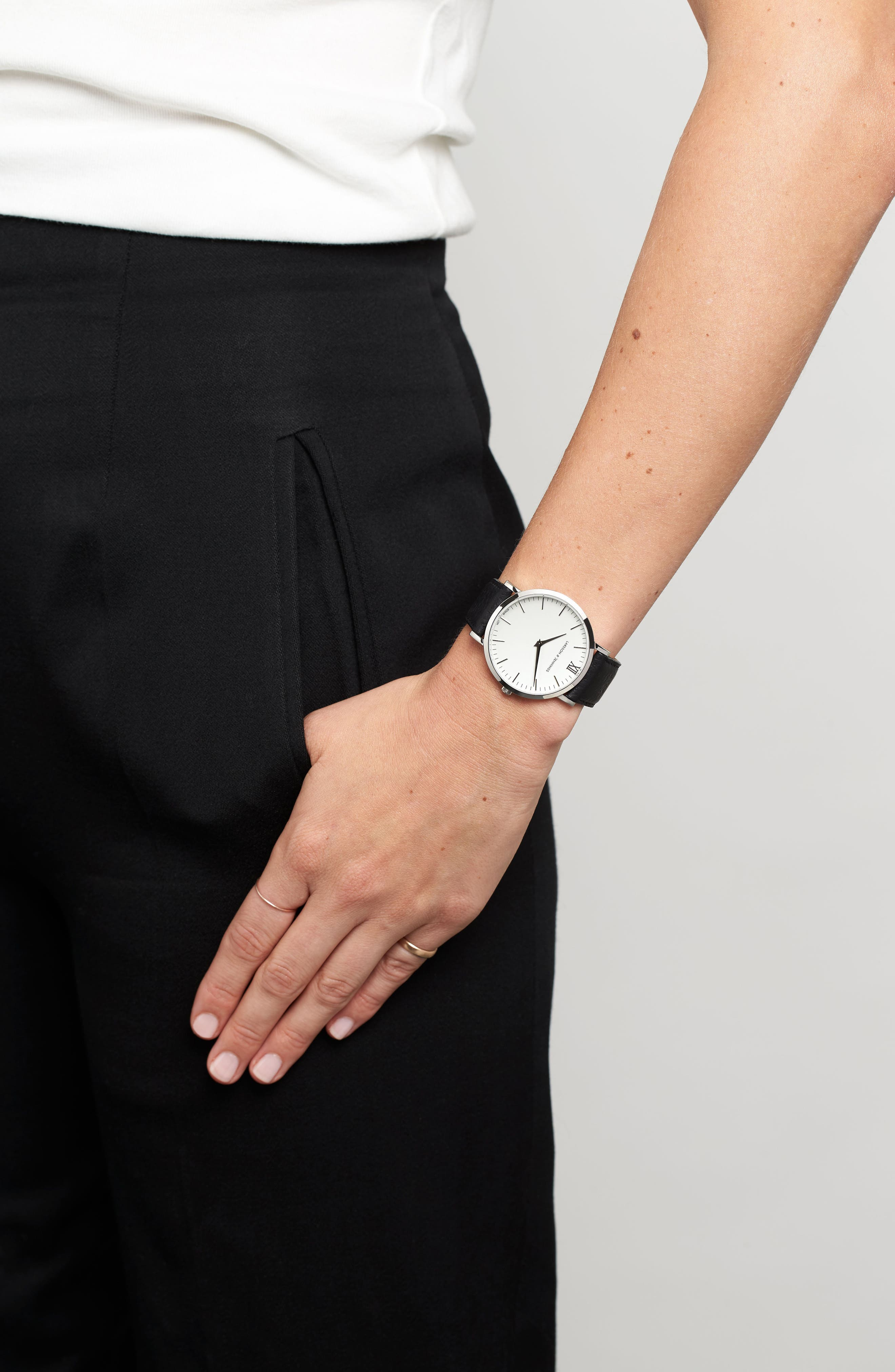 'Lugano' Leather Strap Watch, 40mm,                             Alternate thumbnail 7, color,                             Black/ White