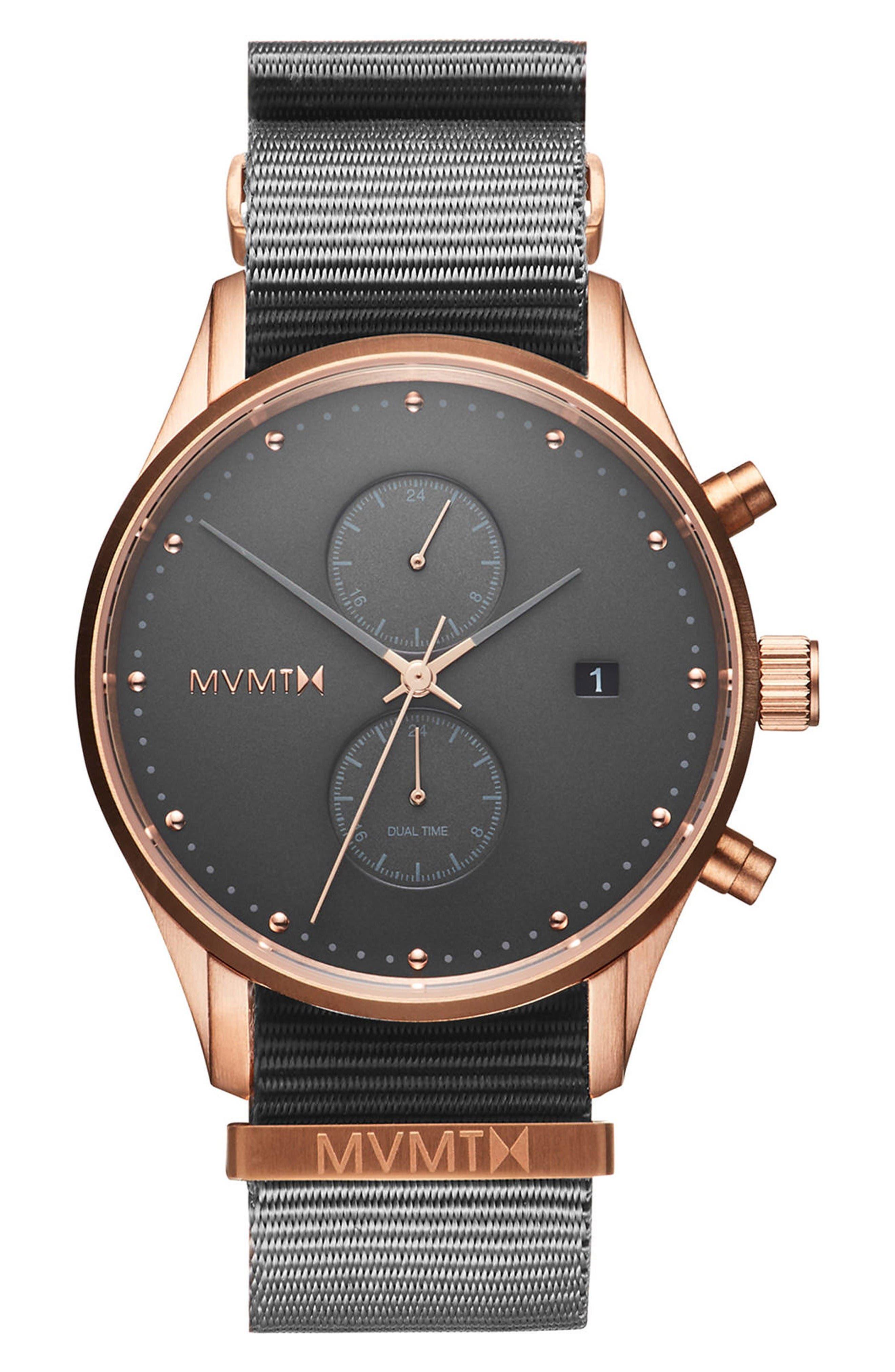 Voyager Chronograph Canvas Strap Watch, 42mm,                         Main,                         color, Graphite/ Graphite