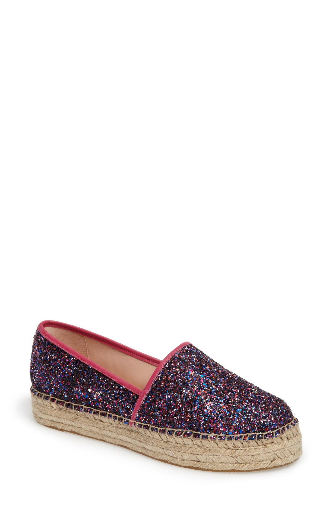 'linds' bow espadrille,                             Main thumbnail 1, color,                             Purple Glitter
