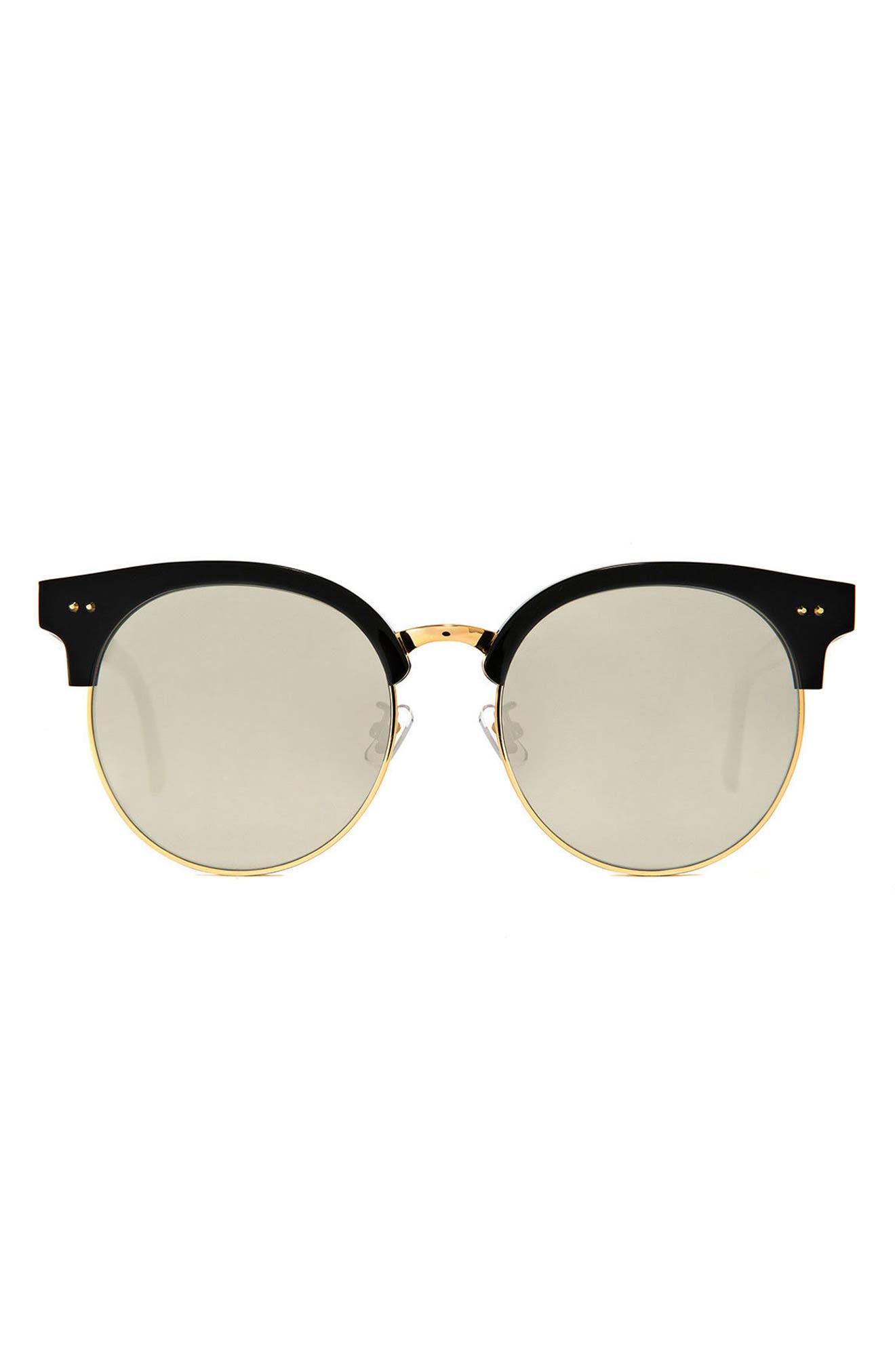 Moon Cut 55mm Sunglasses,                         Main,                         color, Black/Gold